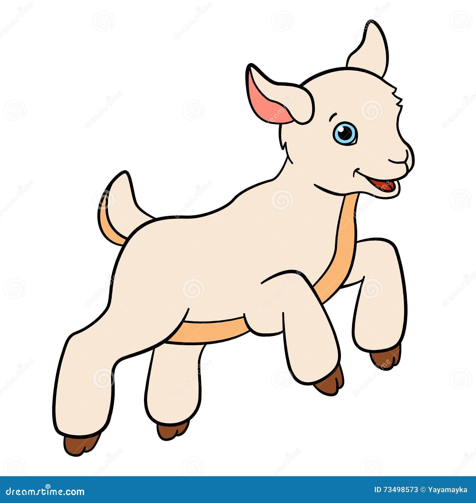 动画片孩子的牲口 小的逗人喜爱的小山羊