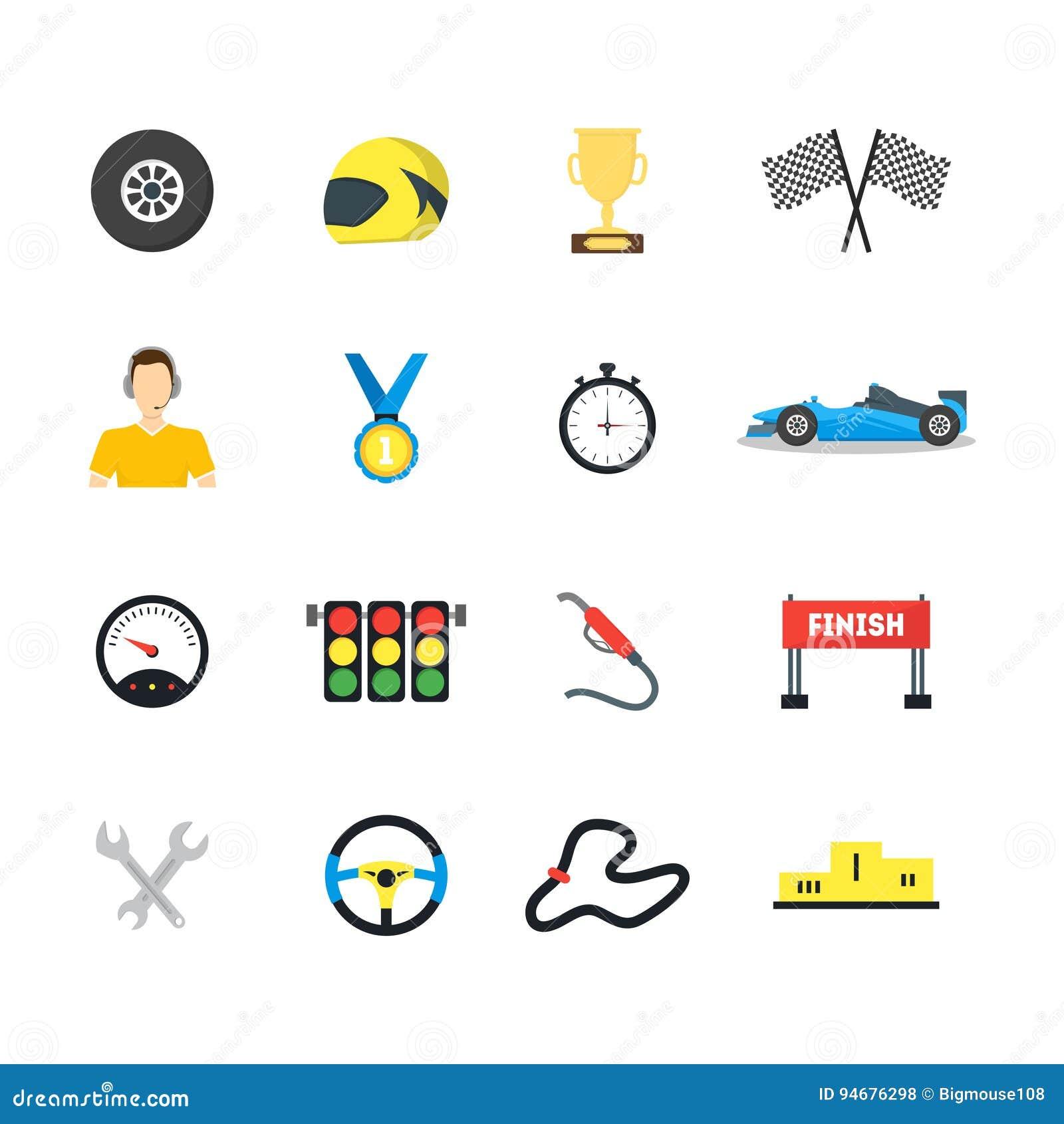 动画片小汽车赛标志被设置的颜色象 向量