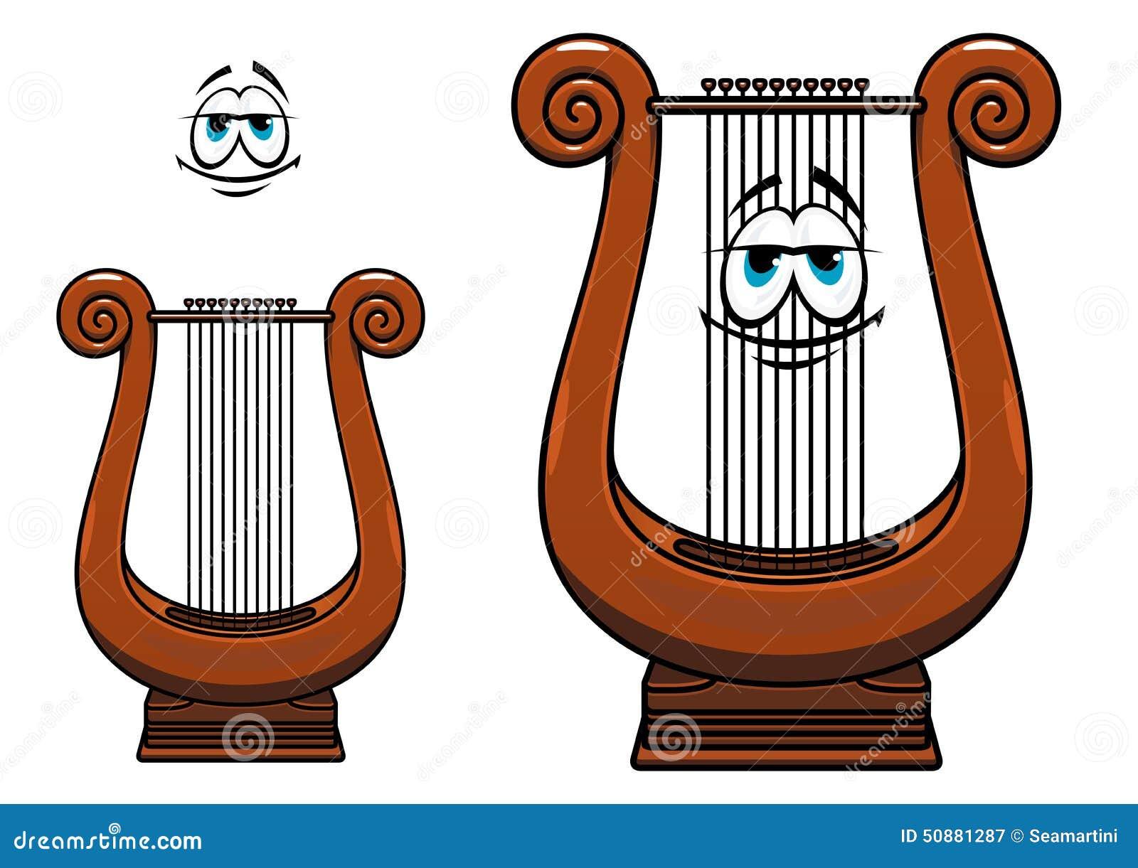 描述有木棕色语科库的微笑的里拉琴漫画人物古希腊串乐器适合于音乐图片