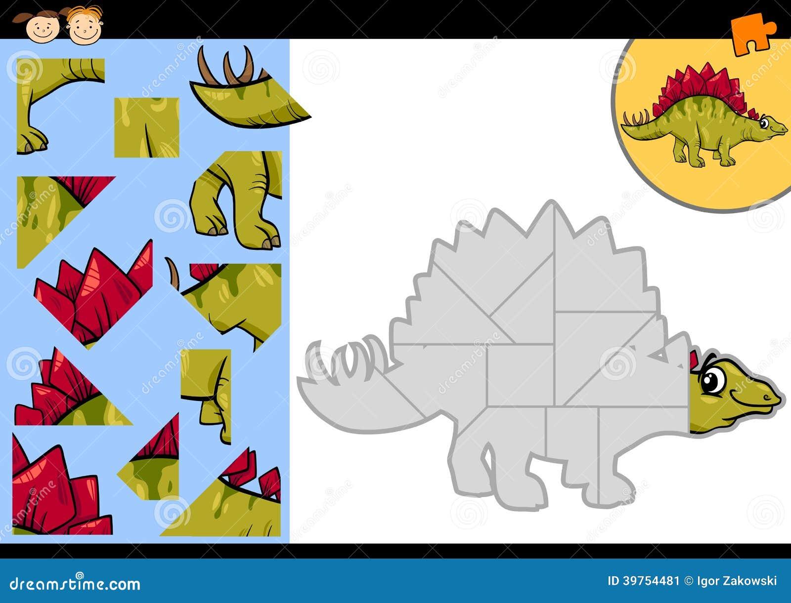 教育学龄前孩子的七巧板比赛的动画片例证有滑稽的剑龙恐龙字符的.图片