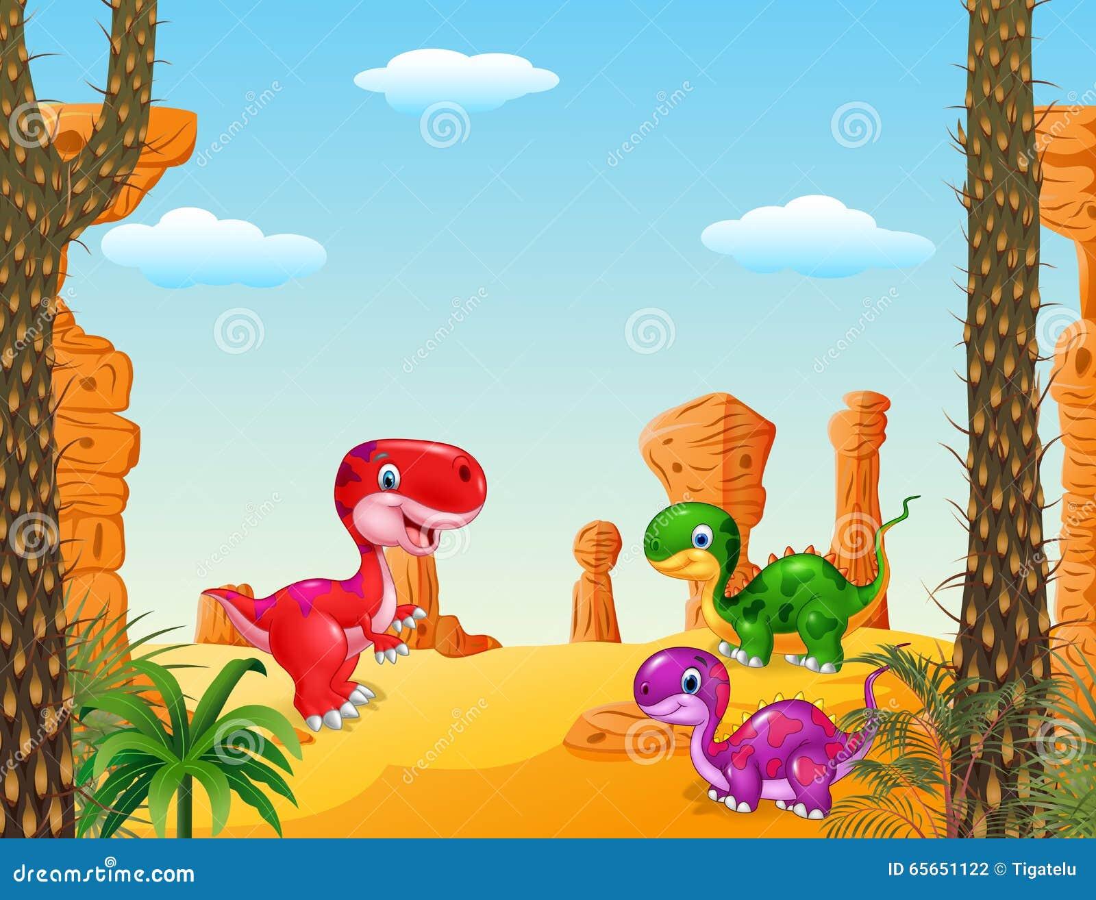 动画片愉快的恐龙收藏设置了有史前背景