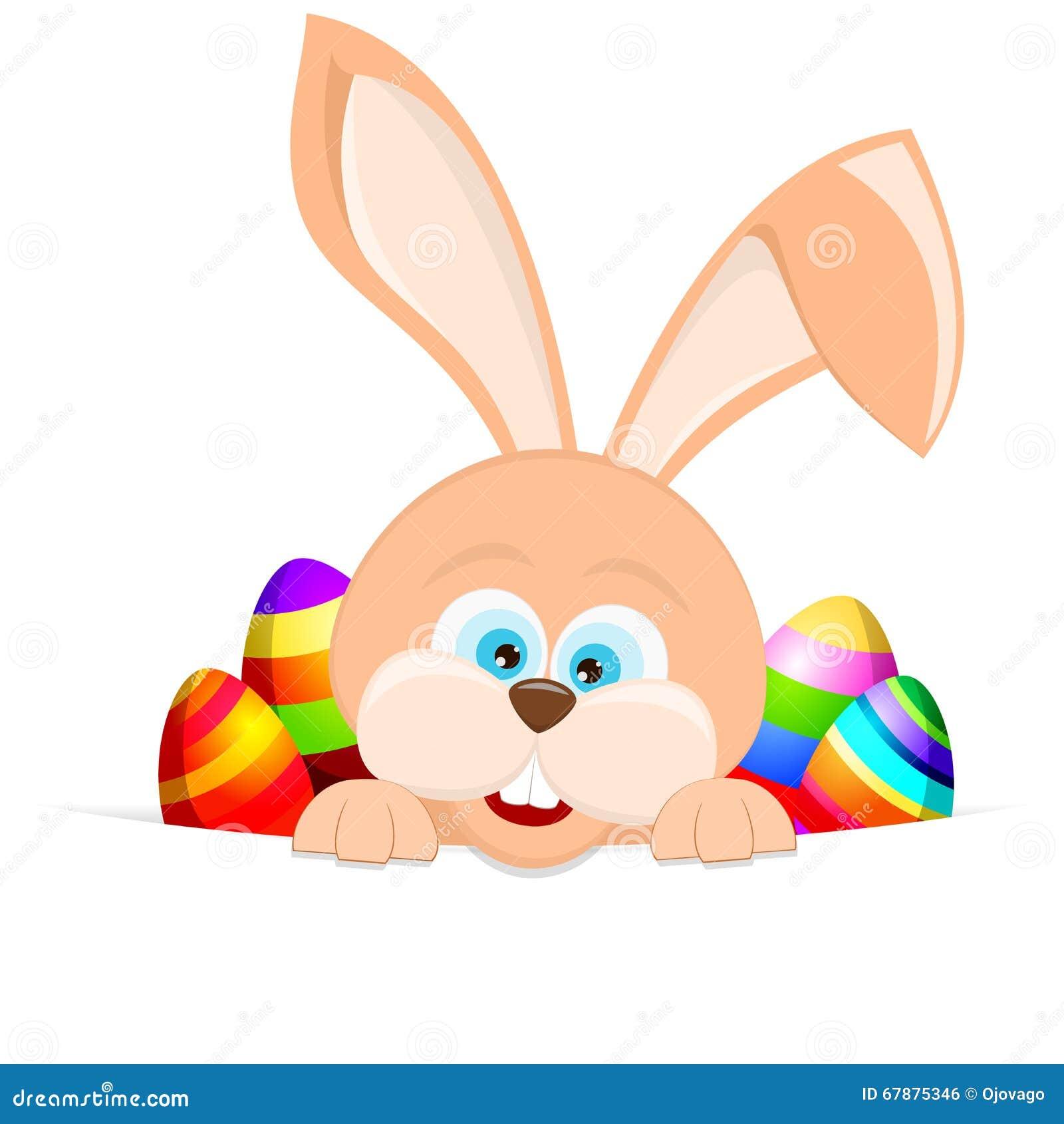 动画片拿着复活节彩蛋的复活节兔子