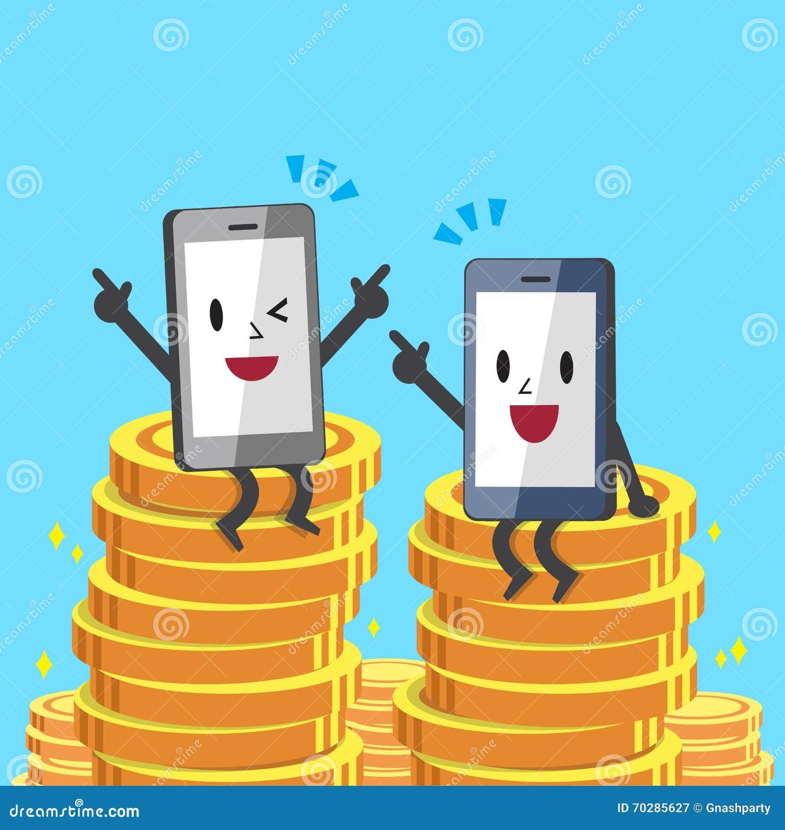 动画片智能手机坐金钱硬币图片