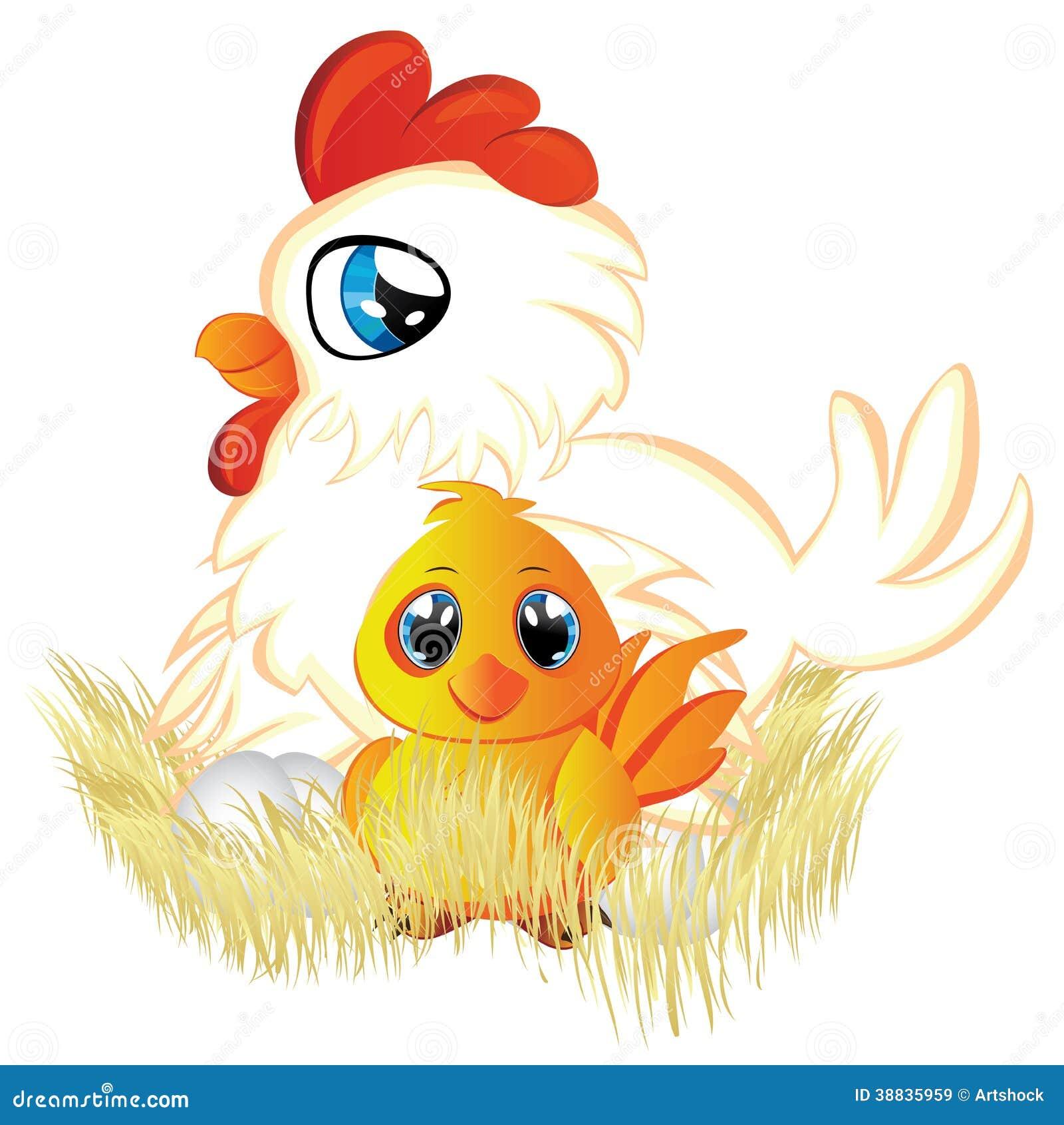 黄色片色鸡鸡_逗人喜爱的动画片白色母鸡用鸡蛋和在她的巢的黄色鸡.