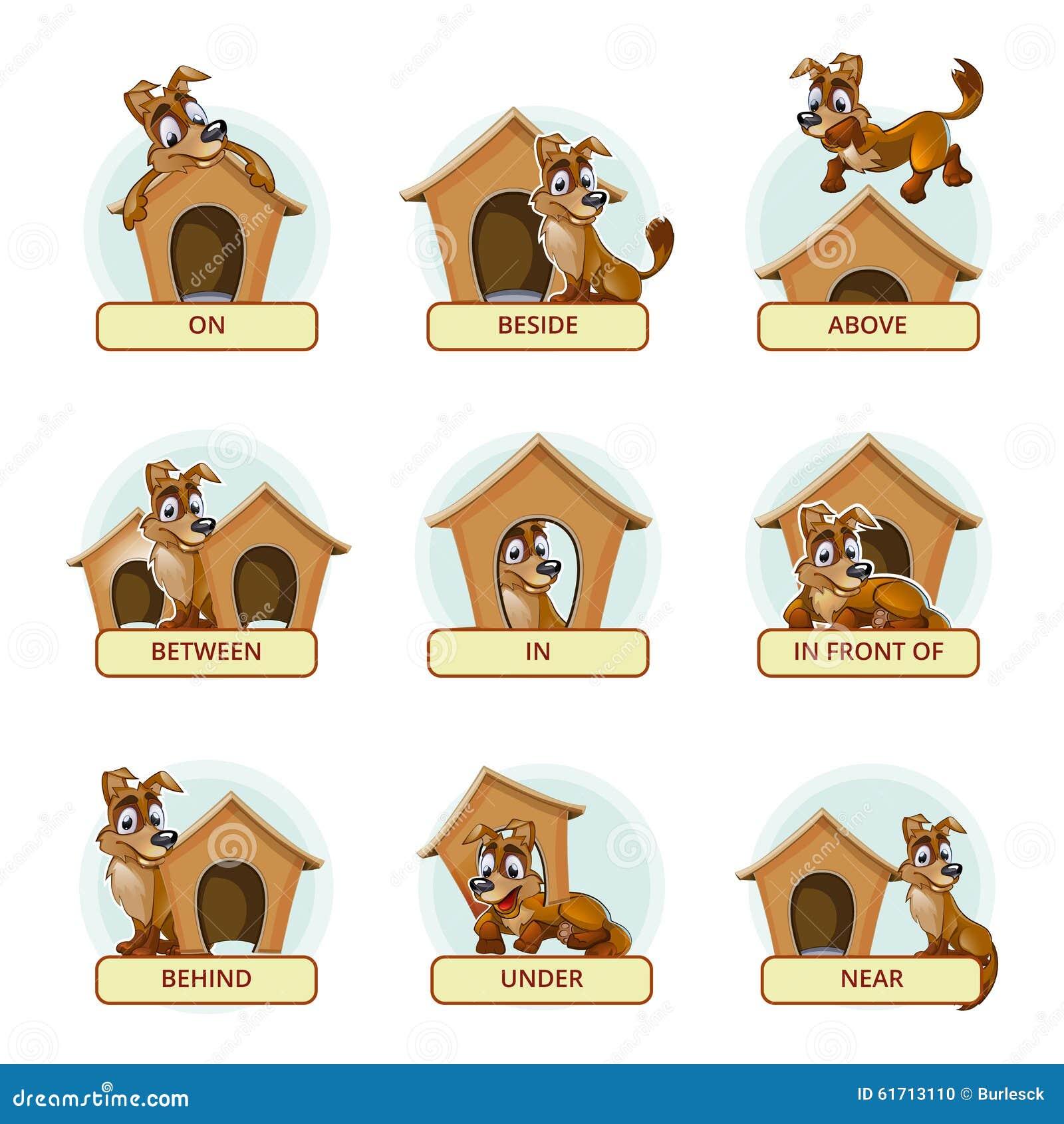 动画片狗用说明的不同的姿势