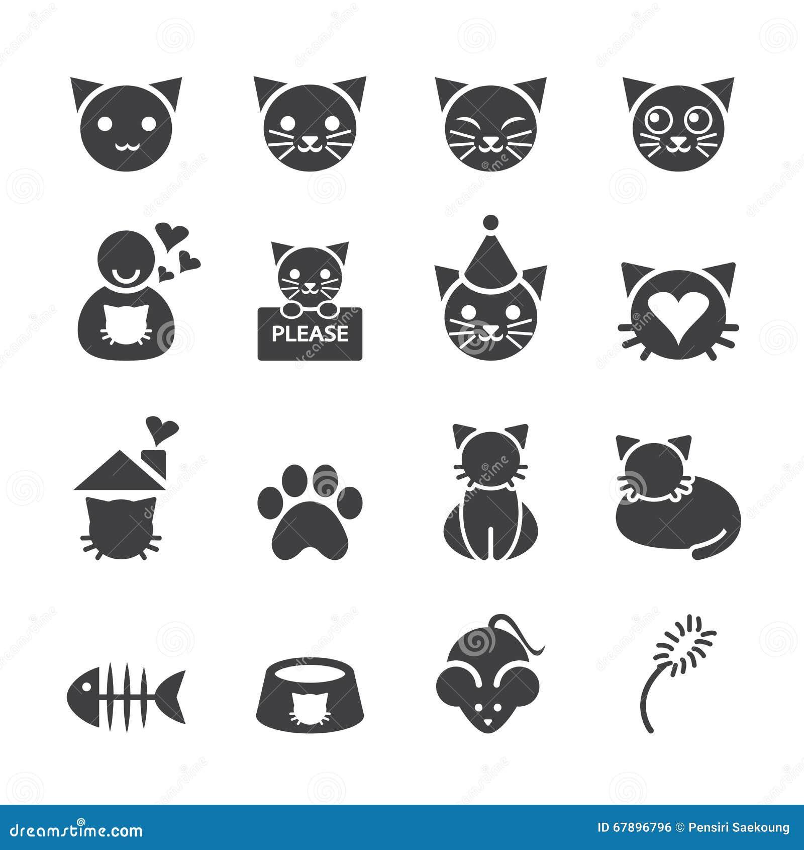 动画片猫minimalistic设计的图标