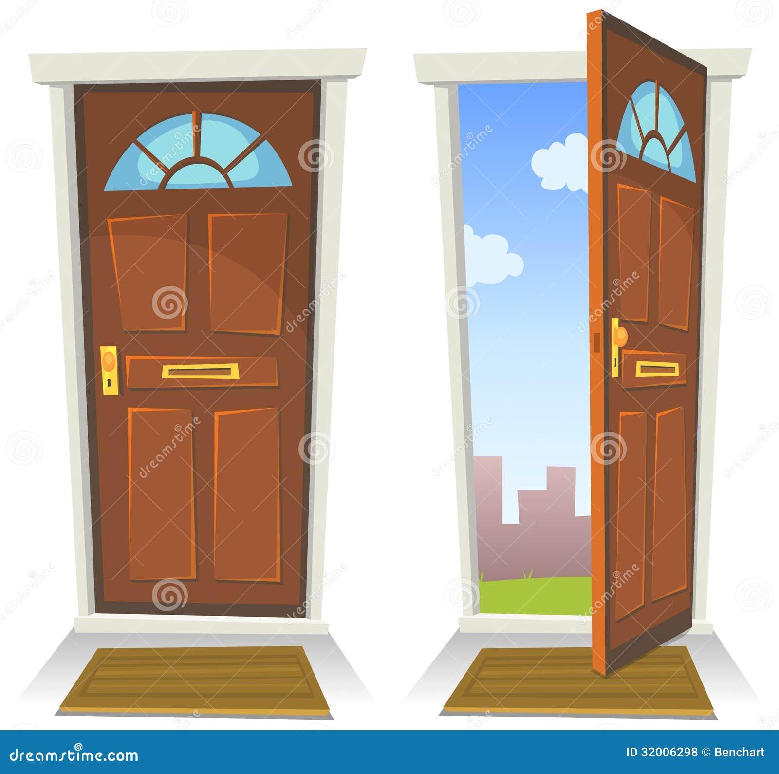 动画片红色门,开放和闭合