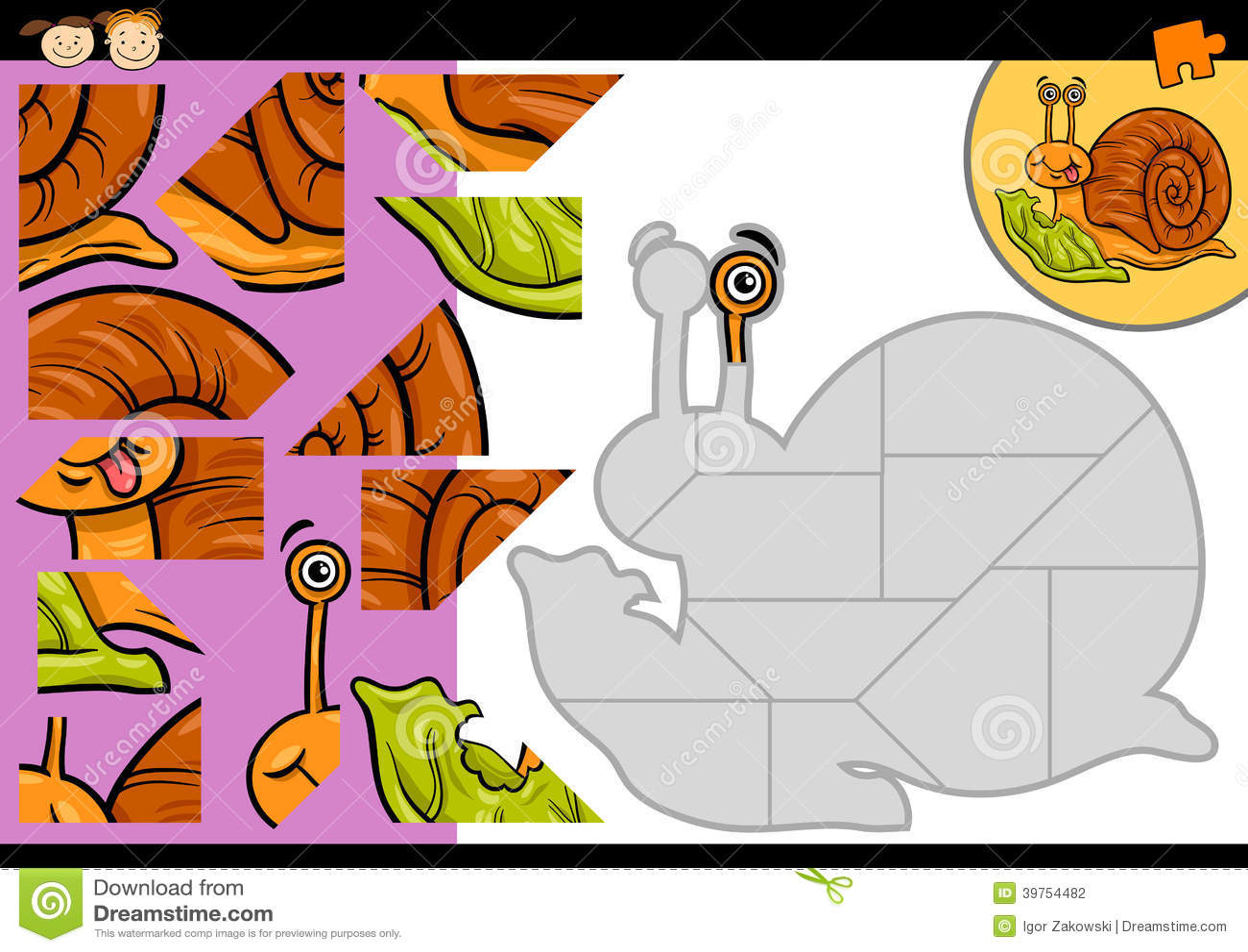 动画片蜗牛七巧板比赛图片