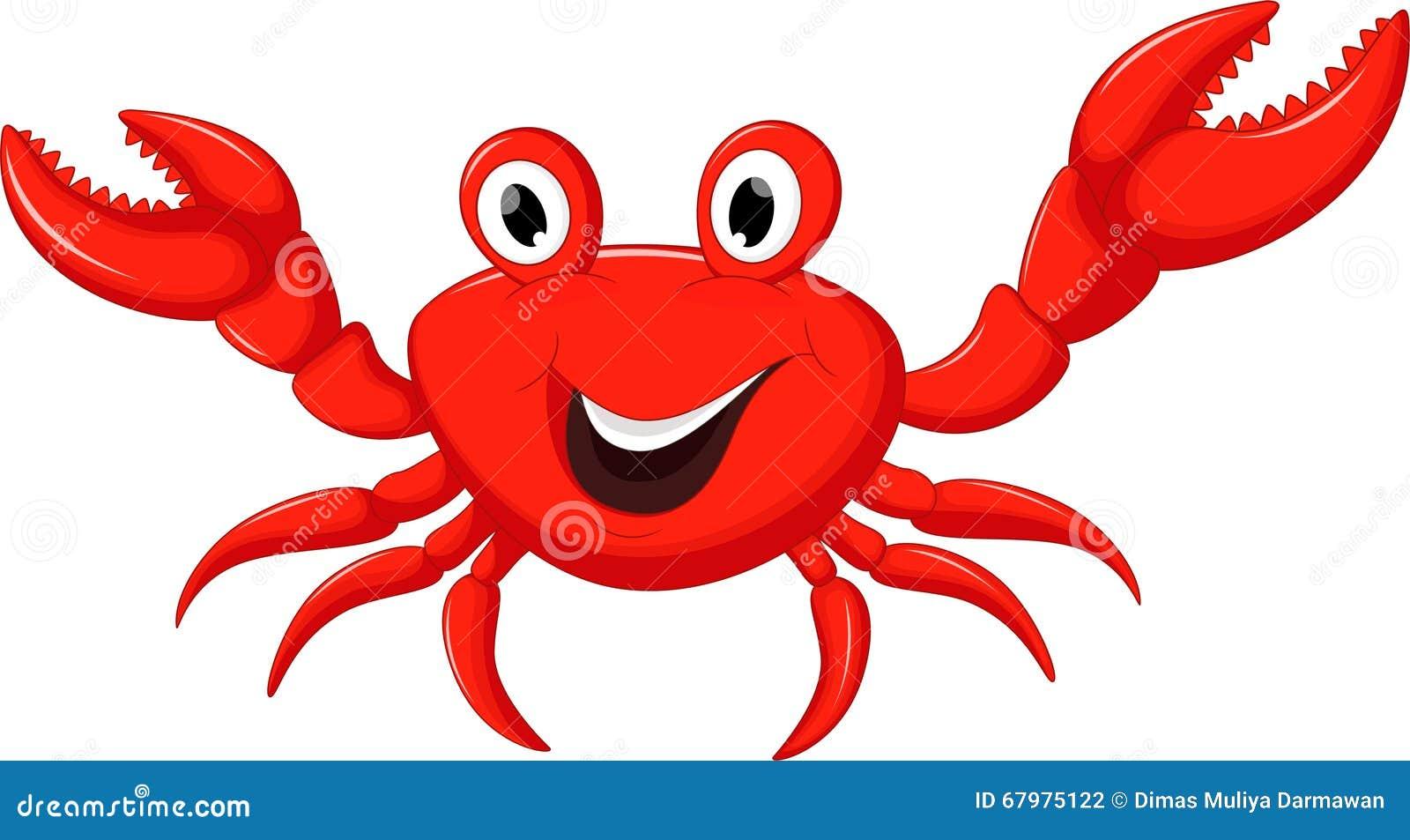 动画片螃蟹滑稽的例证向量