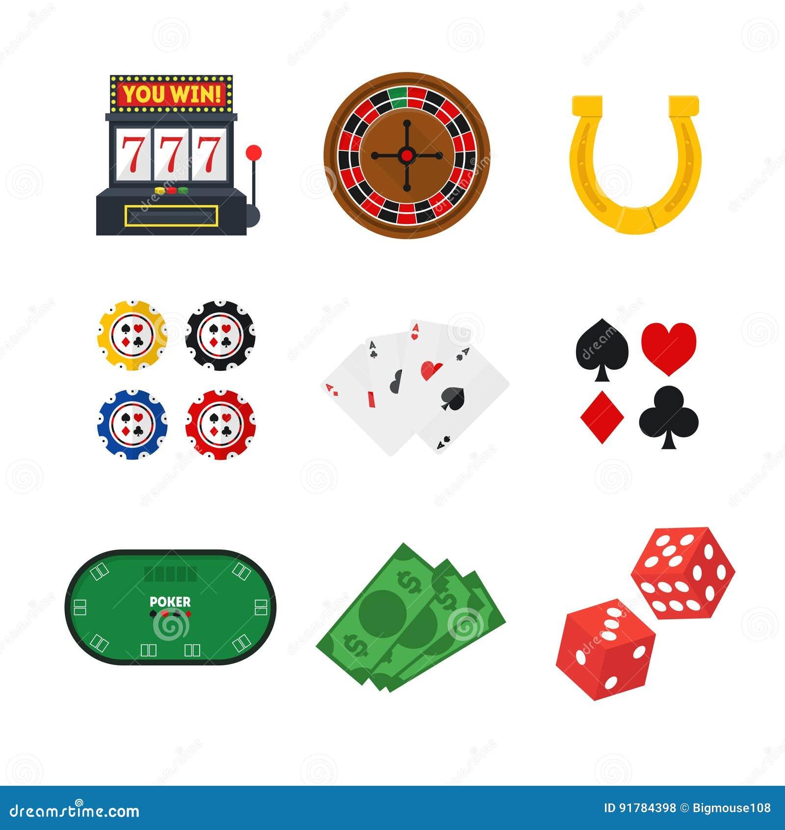 动画片赌博娱乐场集合 向量
