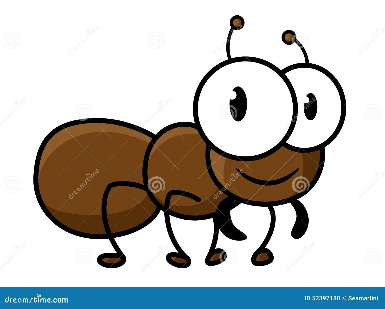 与滑稽的短的腿的逗人喜爱的矮小的棕色蚂蚁在幼稚装饰的白色背景隔绝图片
