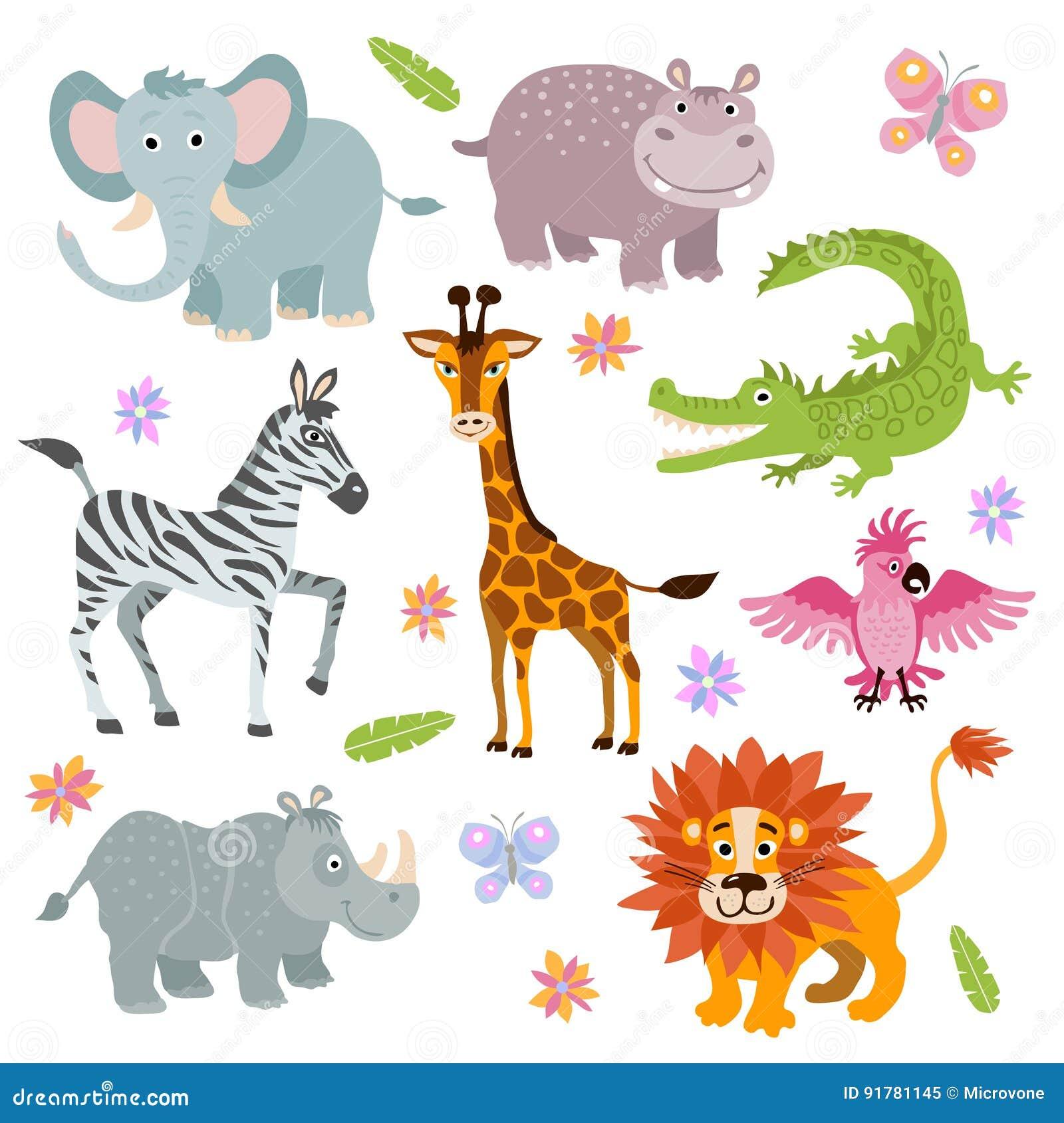 动画片逗人喜爱的非洲大草原动物传染媒介集合