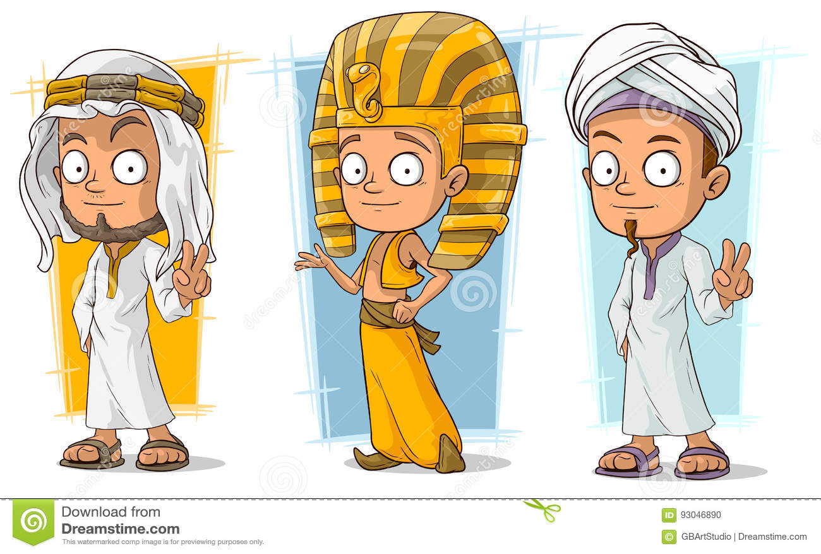 动画片阿拉伯和埃及年轻字符传染媒介集合