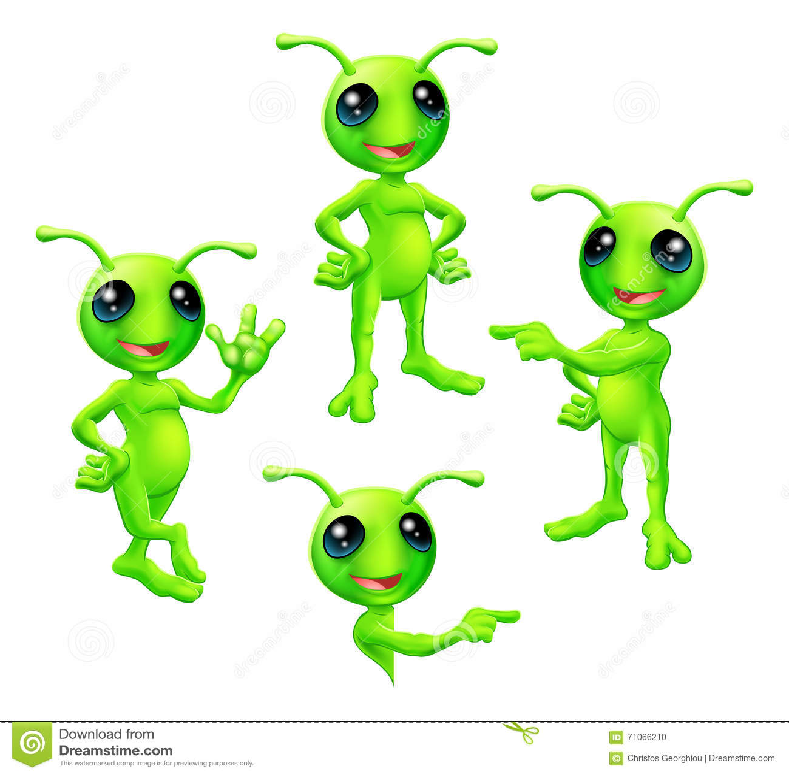 动画片绿色外籍人集合