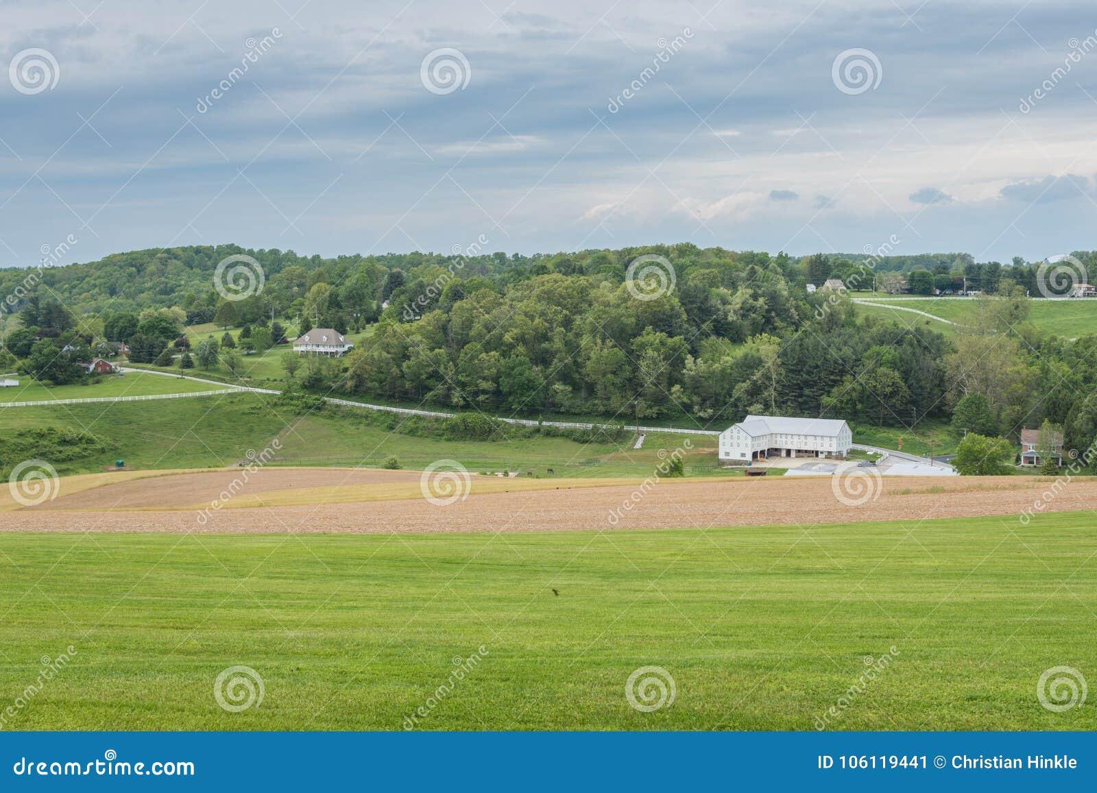 包围威廉卡因公园的农田在约克县, Pennsylva