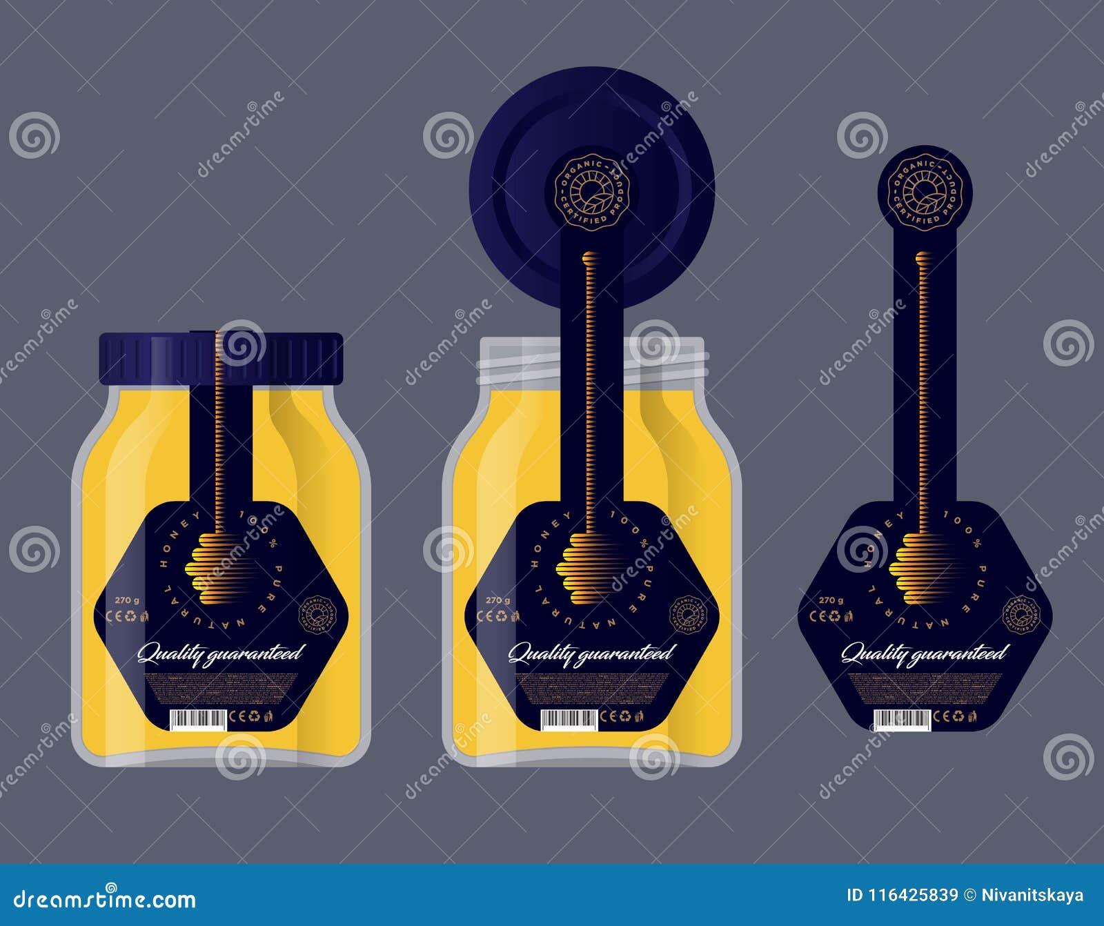 包装蜂蜜的 商标蜂蜜  玻璃瓶子和盒盖有标签的 蜂蜜浸染工象