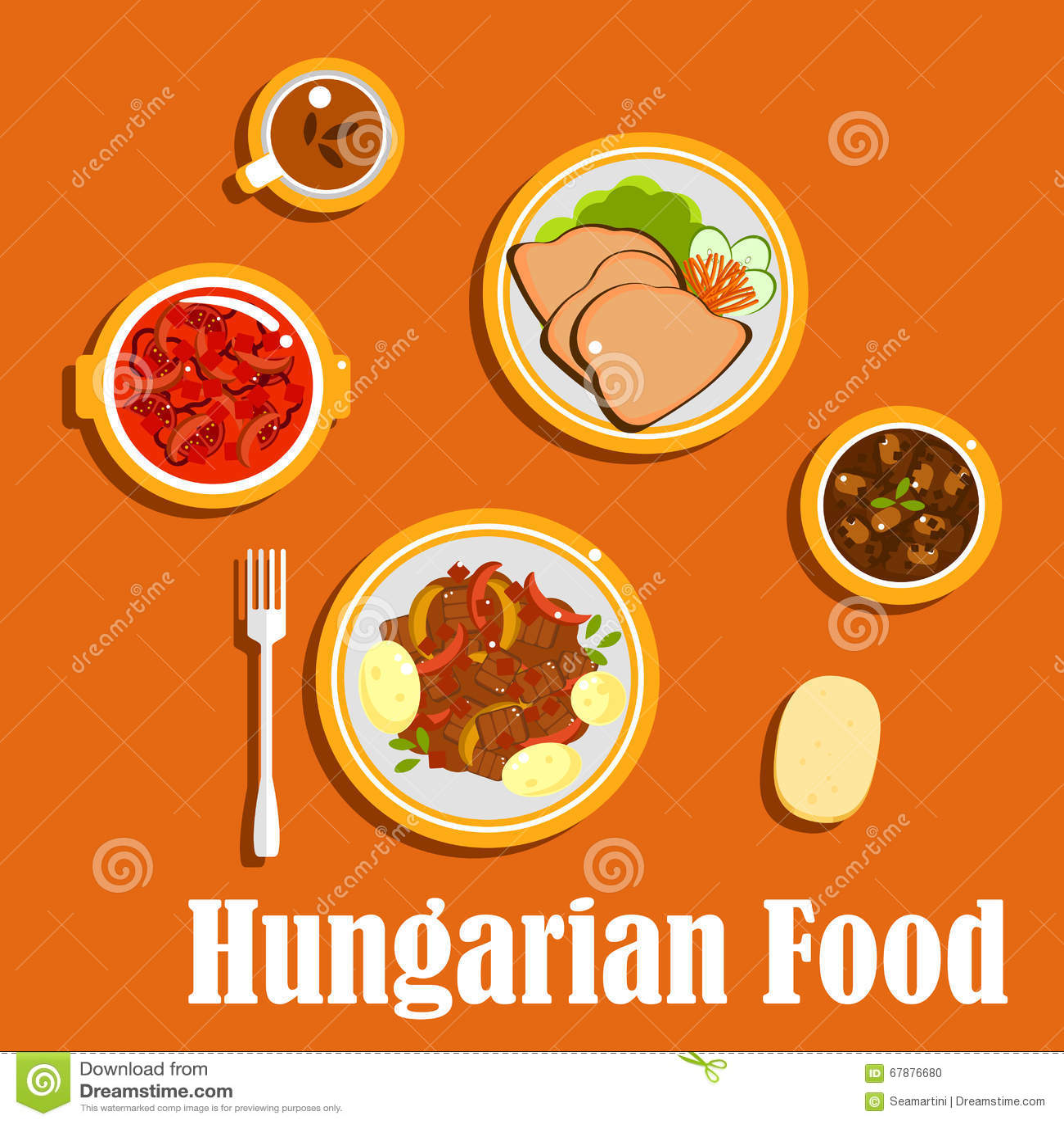 匈牙利午餐盘和点心