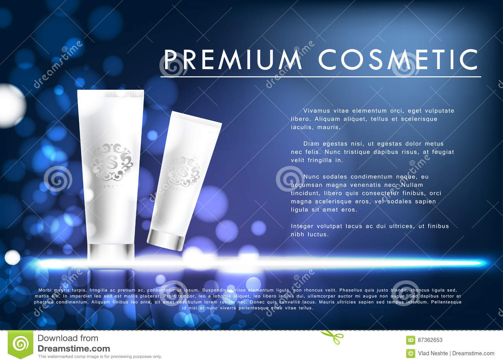 化妆产品海报,白色瓶成套设计