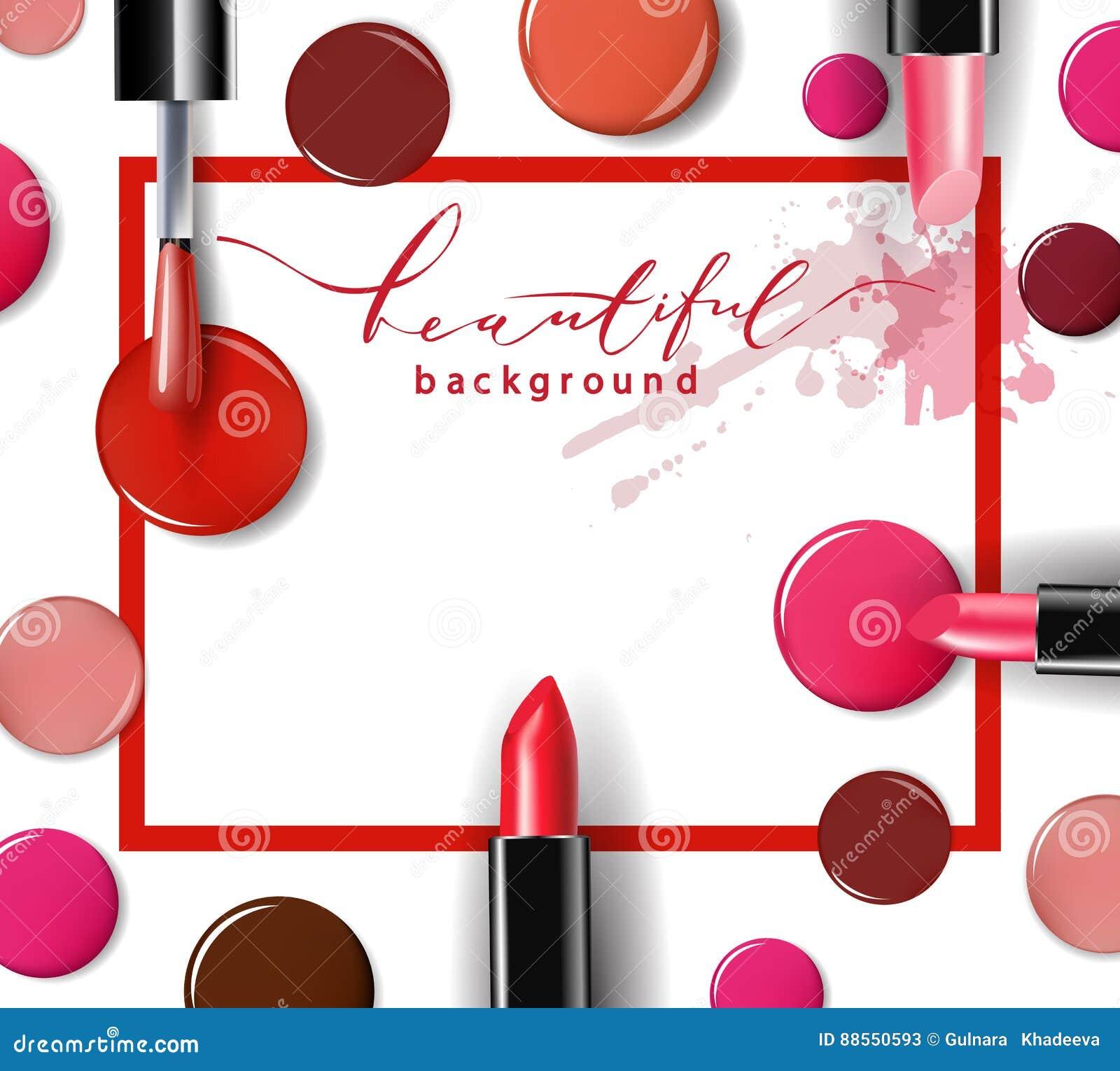 化妆用品和时尚背景与组成艺术家对象:唇膏, ip光泽,指甲油 模板传染媒介