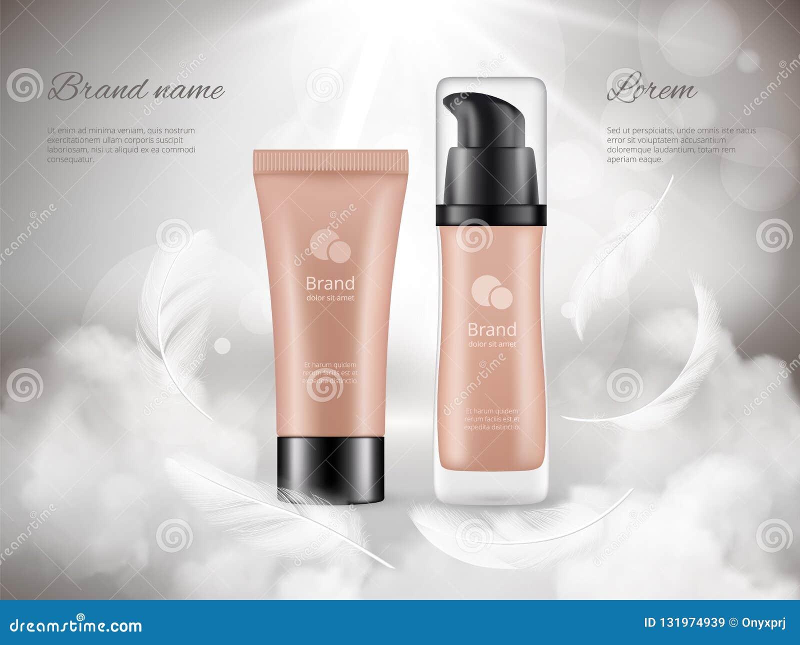 化妆用品海报 润肤液塑料瓶夜云彩羽毛蒸现实豪华增进的广告