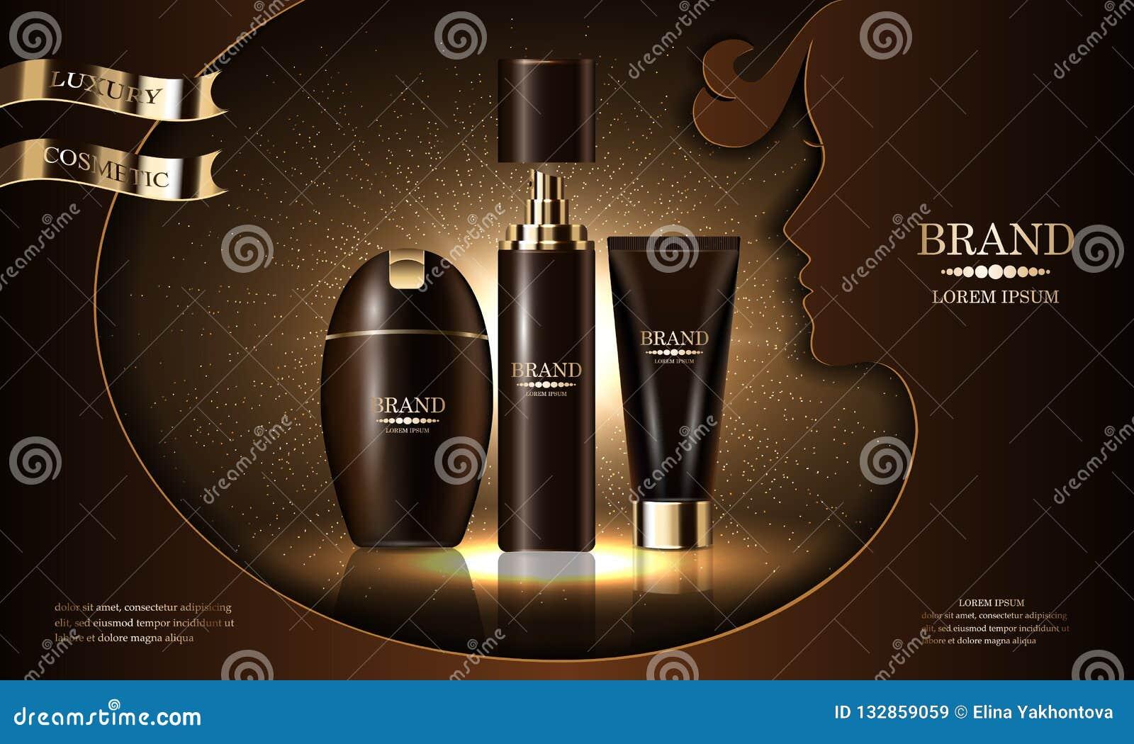化妆用品美容品系列,皮肤护理的,化妆介绍,横幅大模型,传染媒介优质身体浪花奶油香波