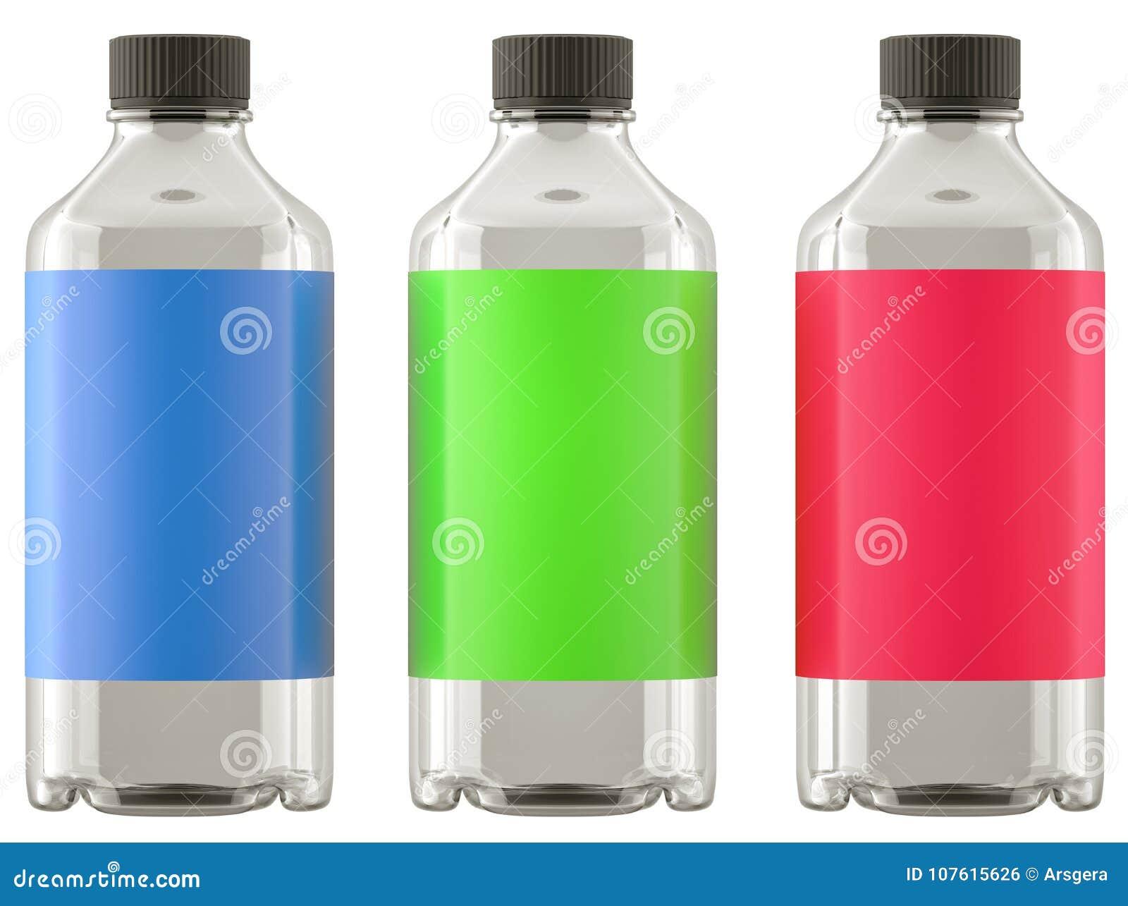 化学制品或药物的三个瓶与五颜六色的贴纸isol
