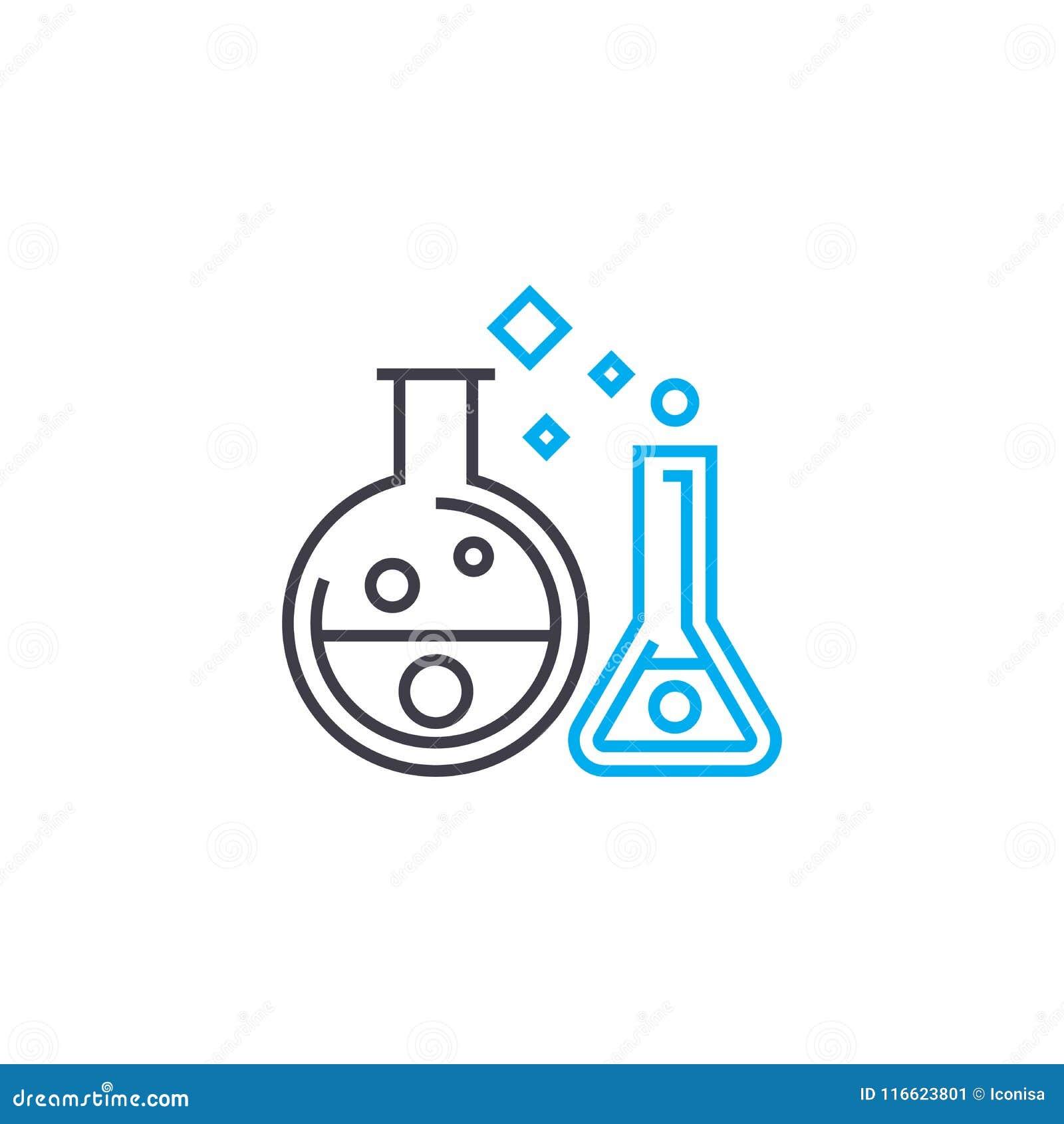 化学制品试验传染媒介稀薄的线冲程象 化学制品试验概述例证,线性标志,标志