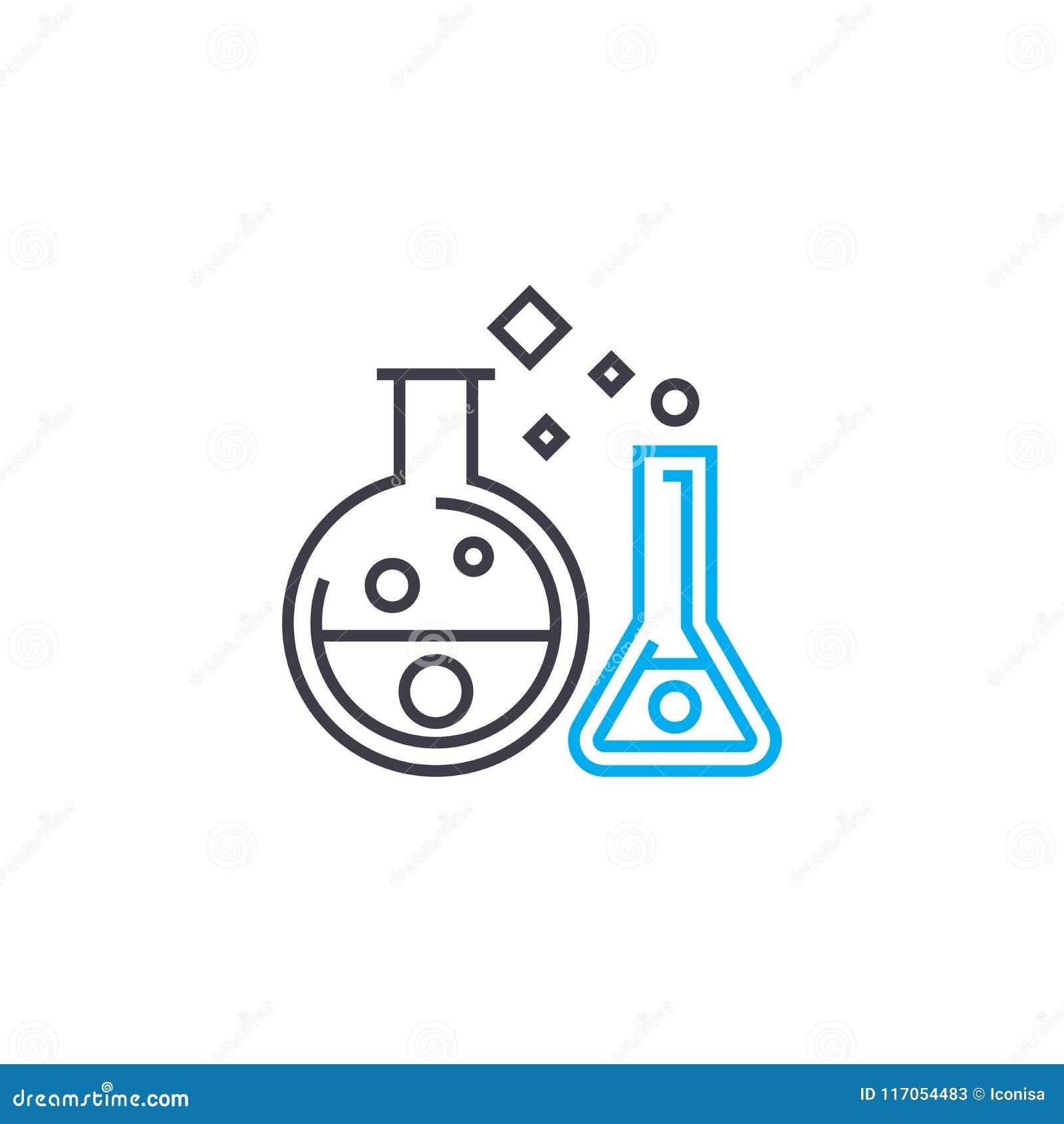 化学制品试验线性象概念 化学制品试验线传染媒介标志,标志,例证