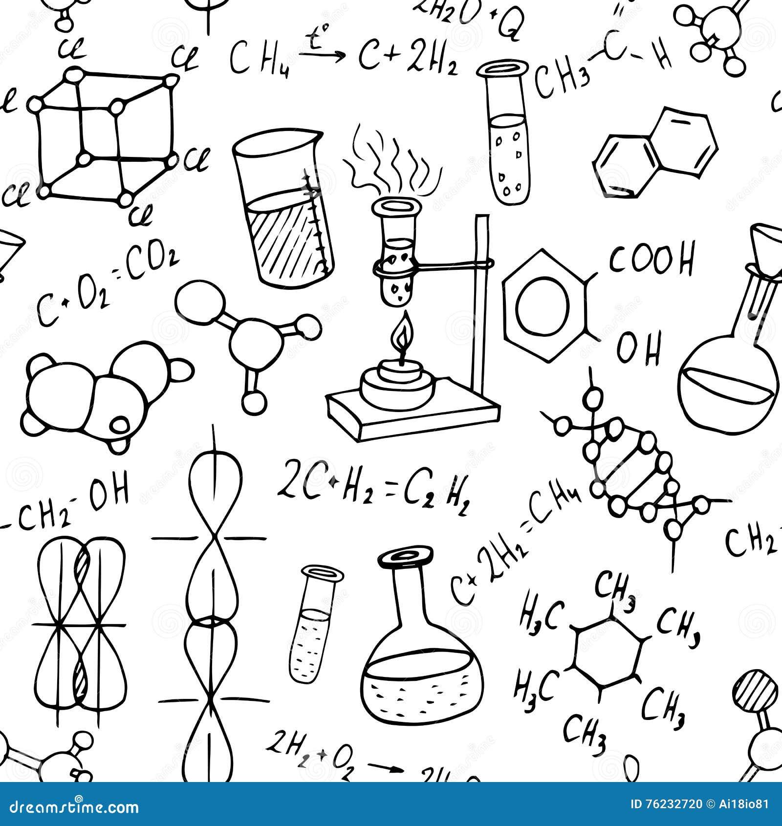 化学手拉的乱画无缝的背景