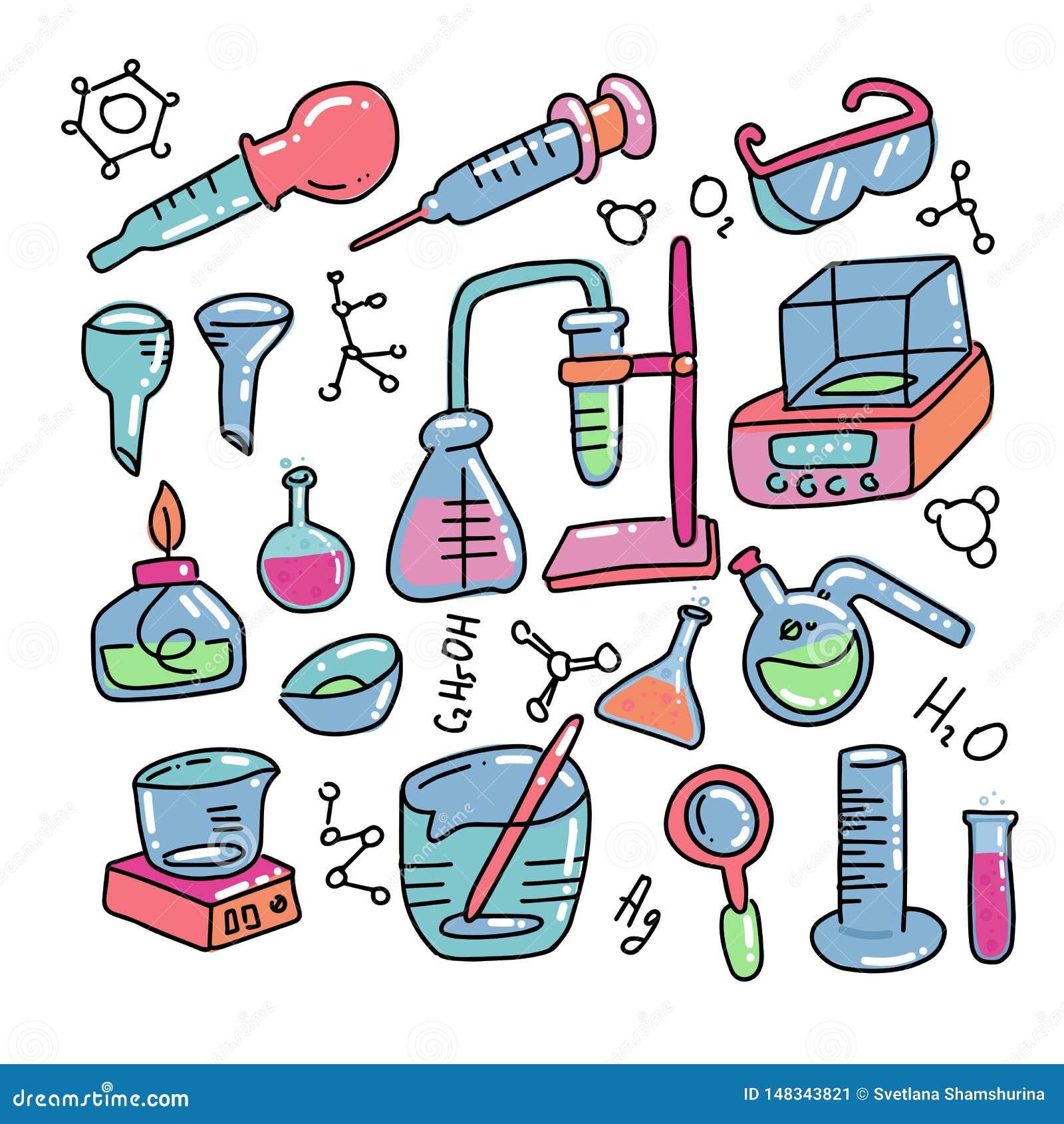 化学装饰颜色手拉的象设置用化工实验室科学实验设备隔绝了传染媒介例证
