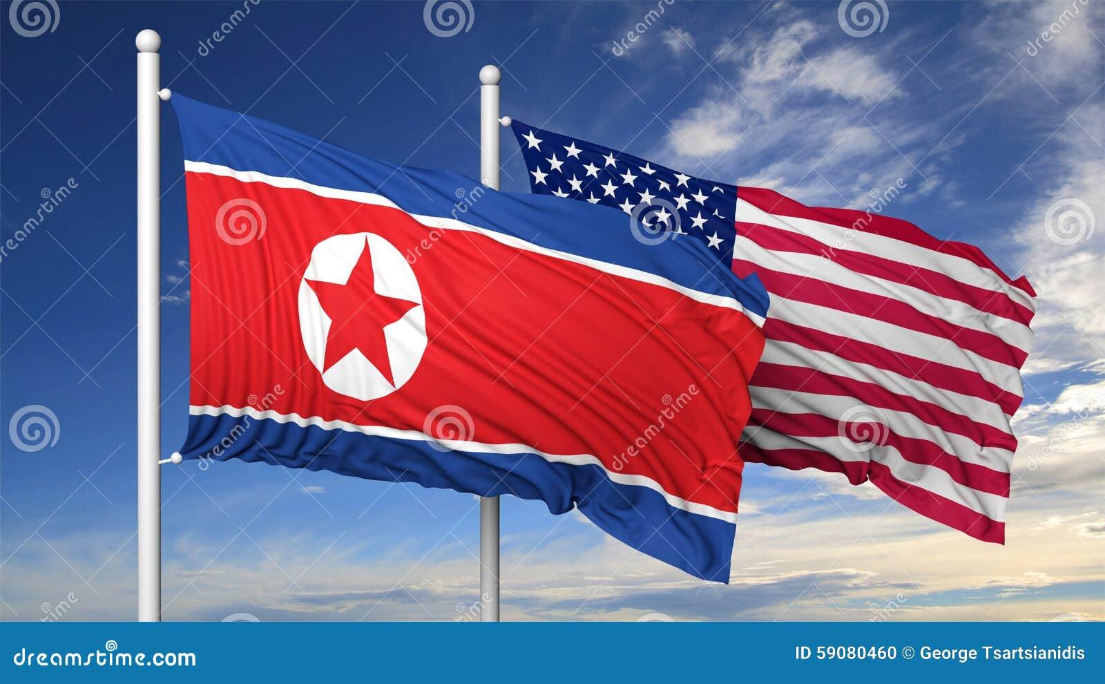 北朝鲜和美国的挥动的旗子旗杆的