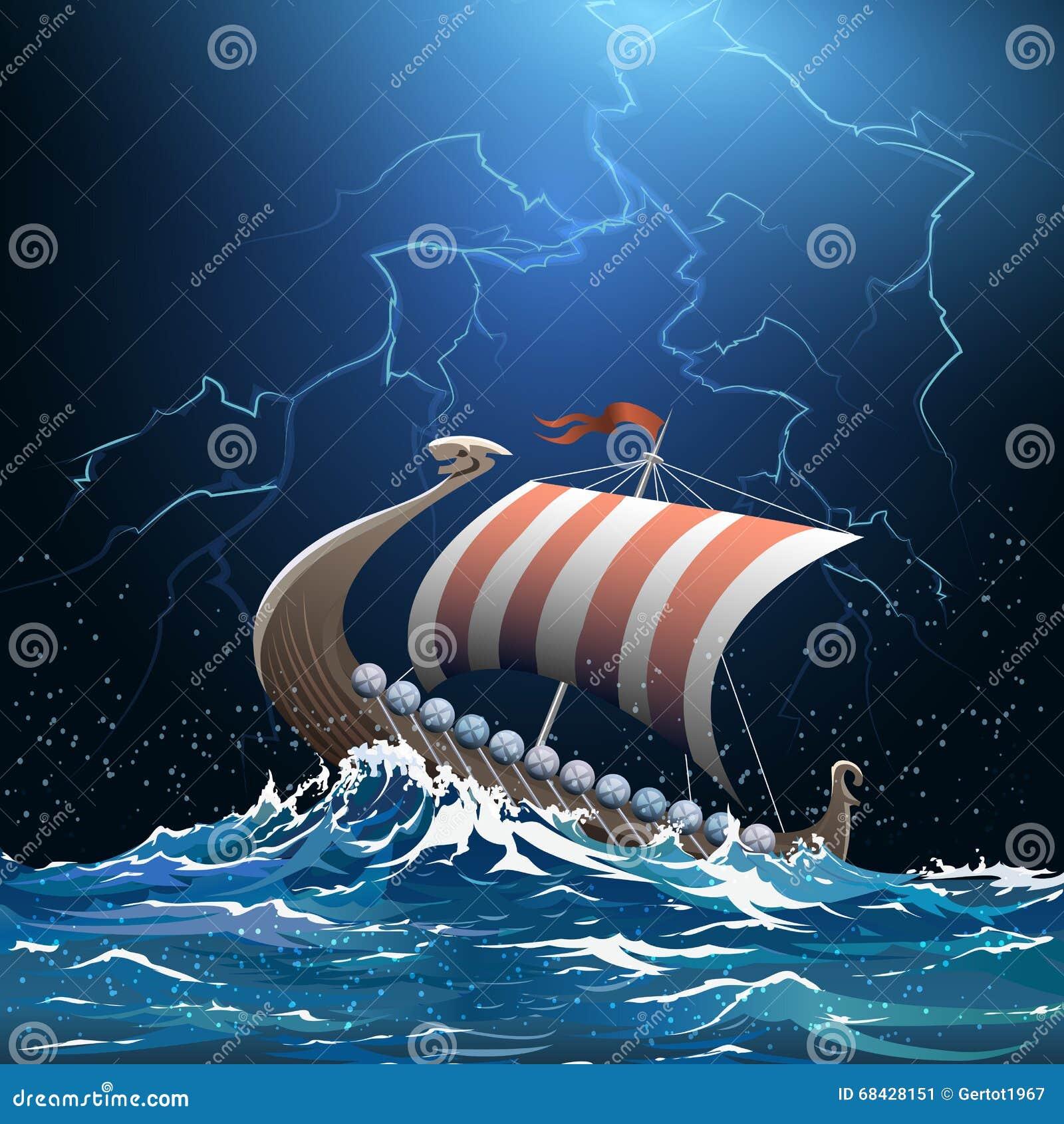 北欧海盗中世纪军舰在风雨如磐的海