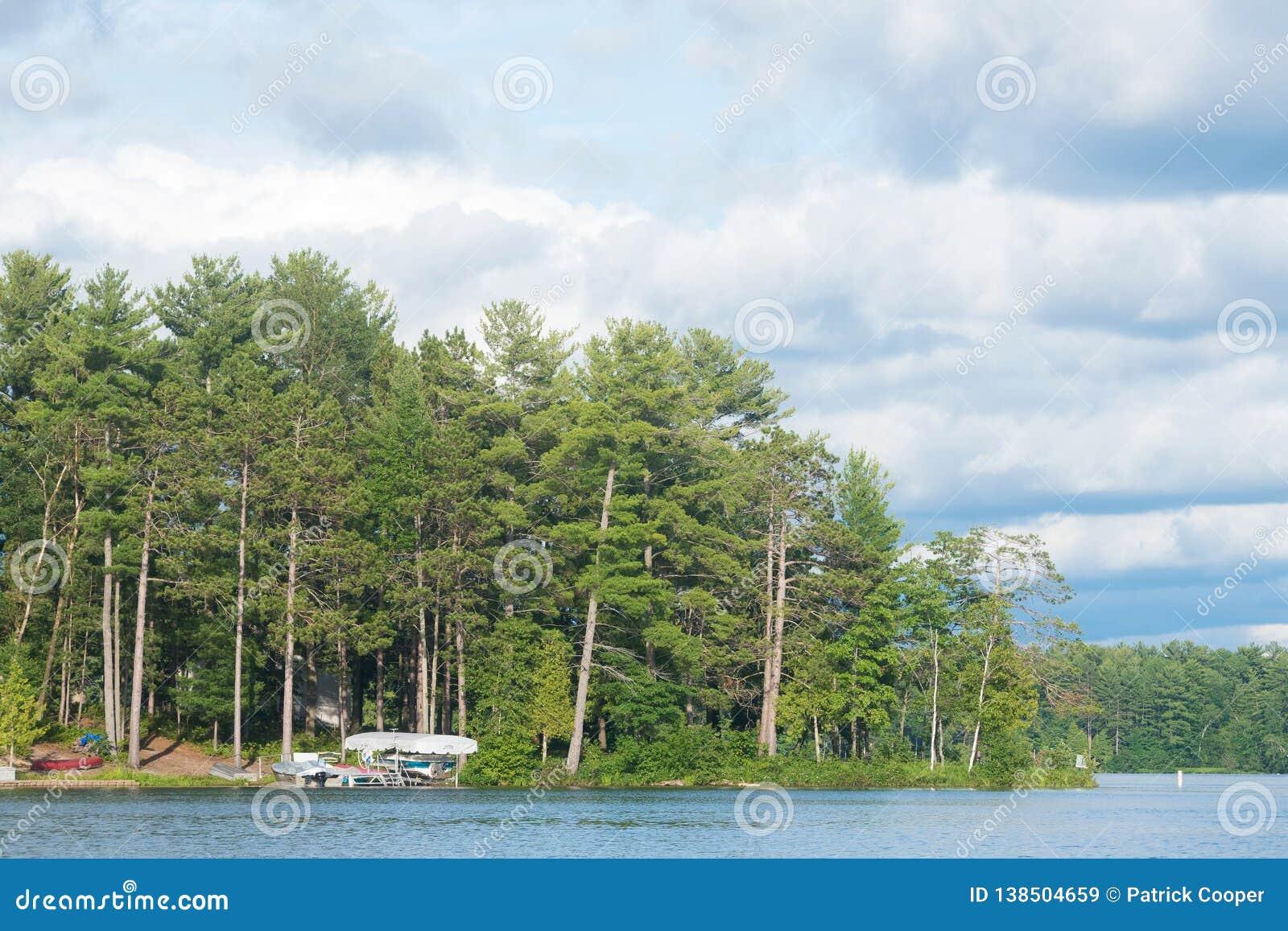 北美洲湖标示用树