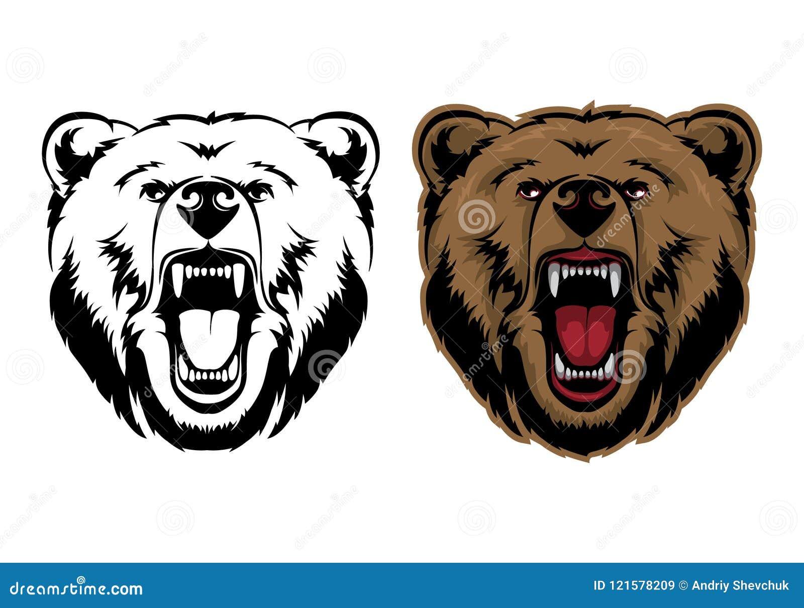 北美灰熊吉祥人头向量图形