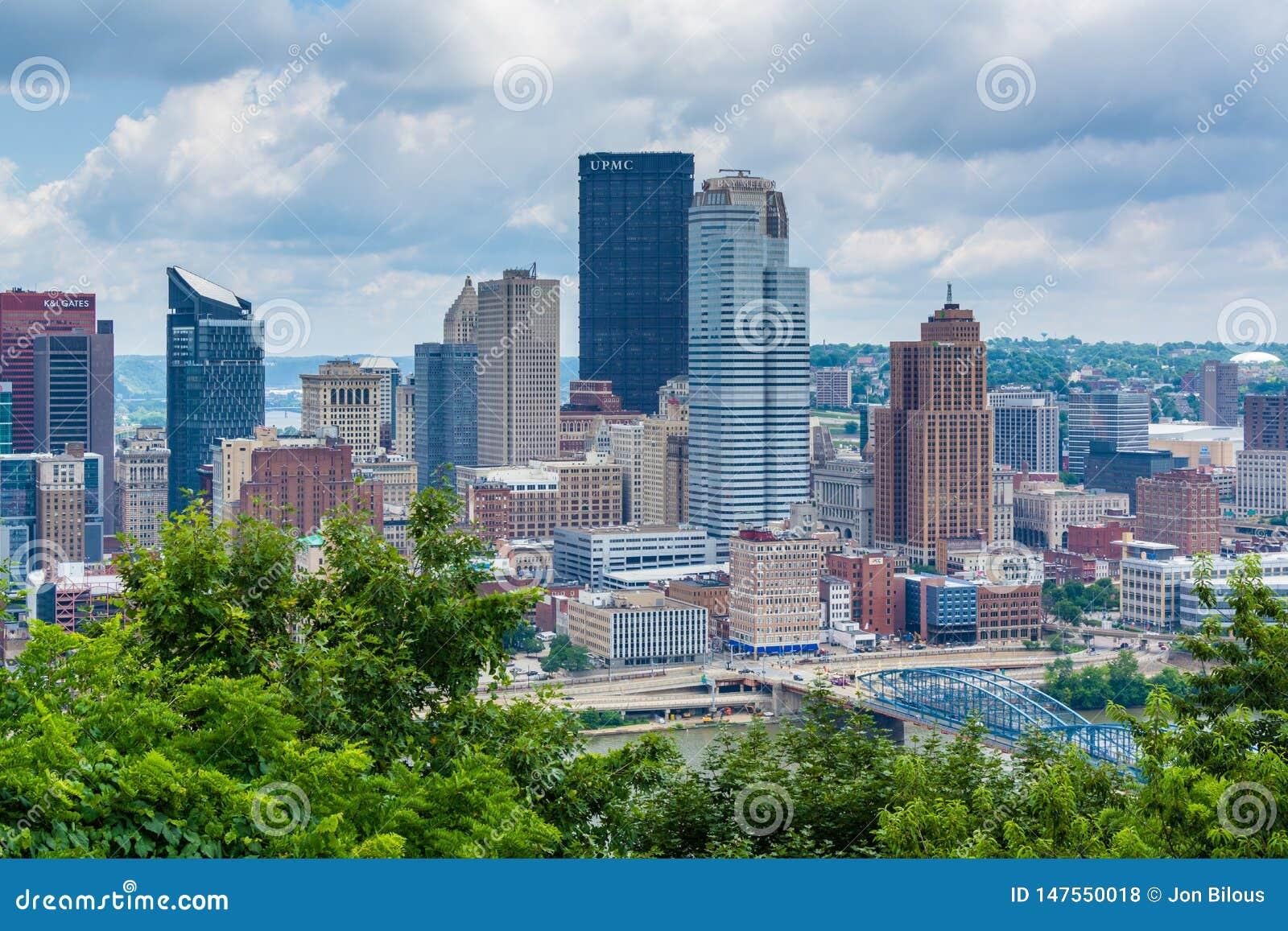 匹兹堡地平线和Monongahela河的看法,从华盛顿山,匹兹堡,宾夕法尼亚
