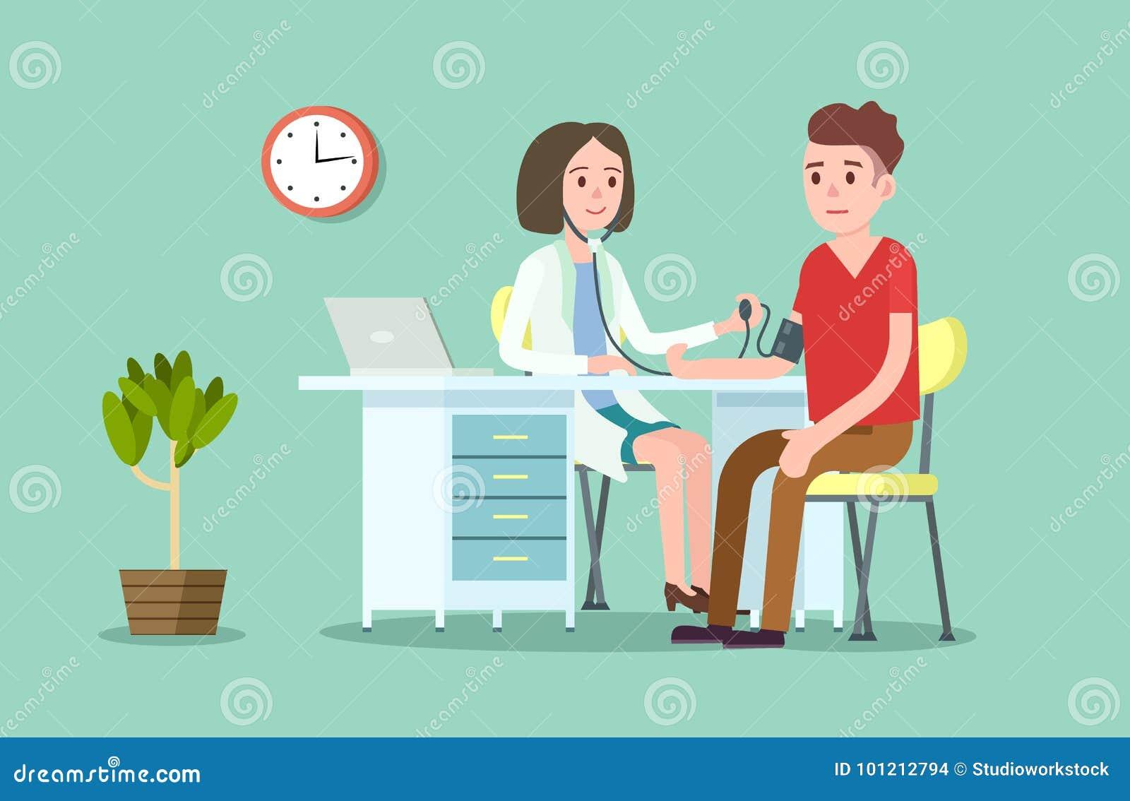 医生和患者测量的血压