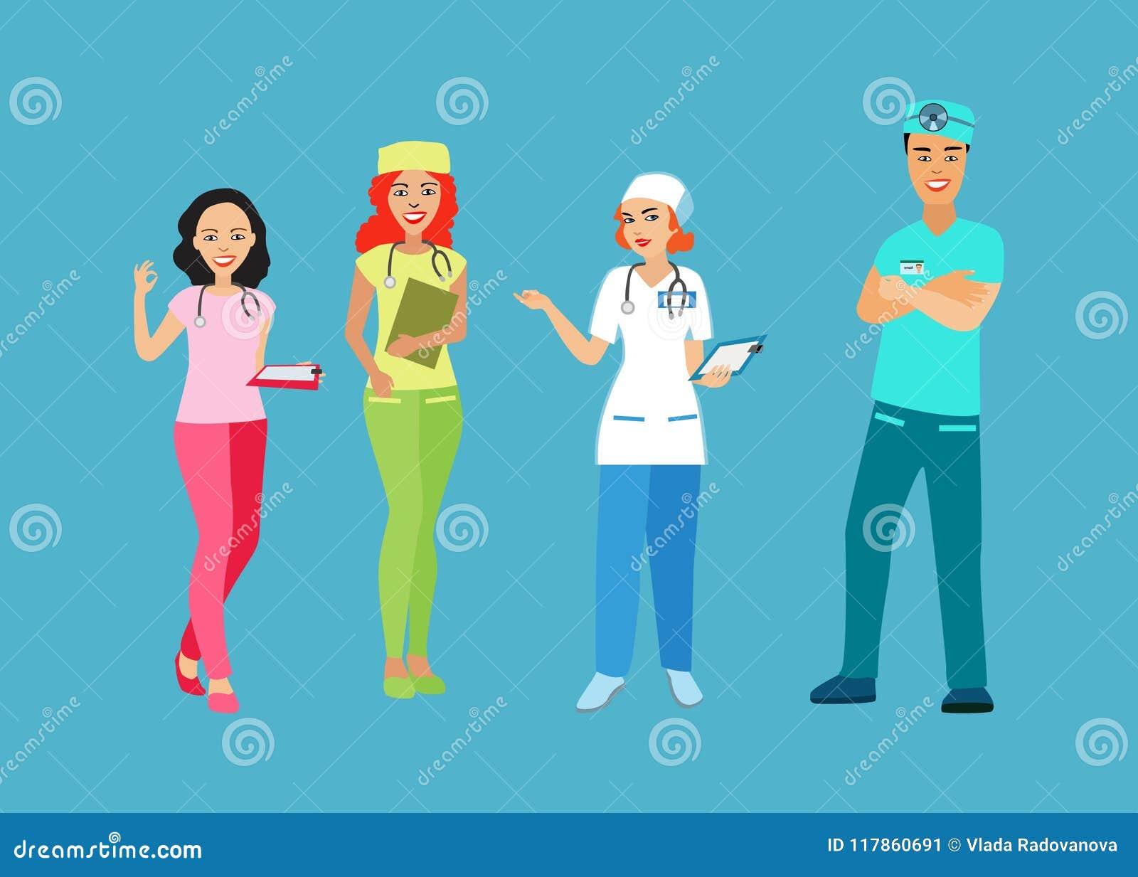 医生和护士制服的 有一位医疗专家的人们