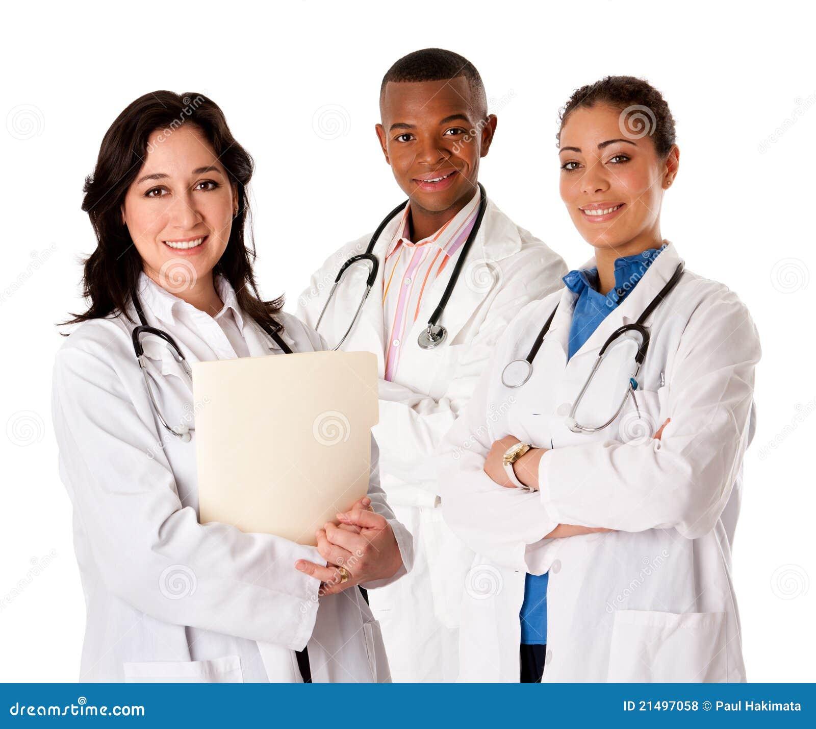 医生愉快的医师微笑的小组