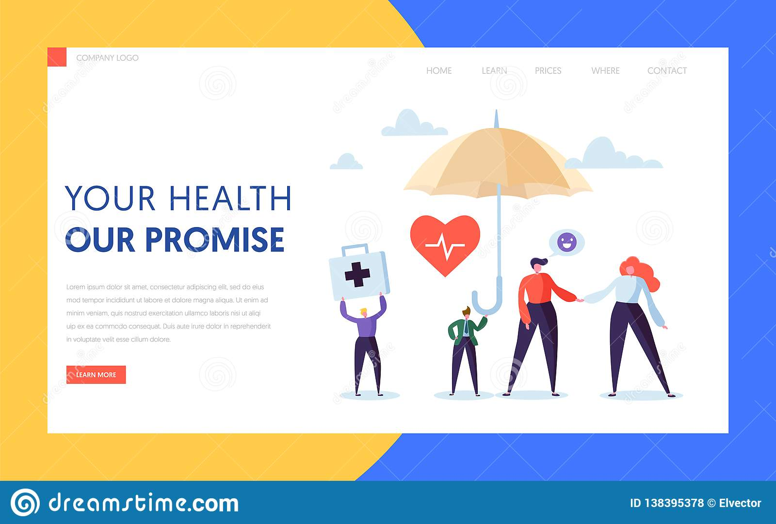 医疗保险着陆页概念 人字符保险柜在伞下 医学医疗保健医疗