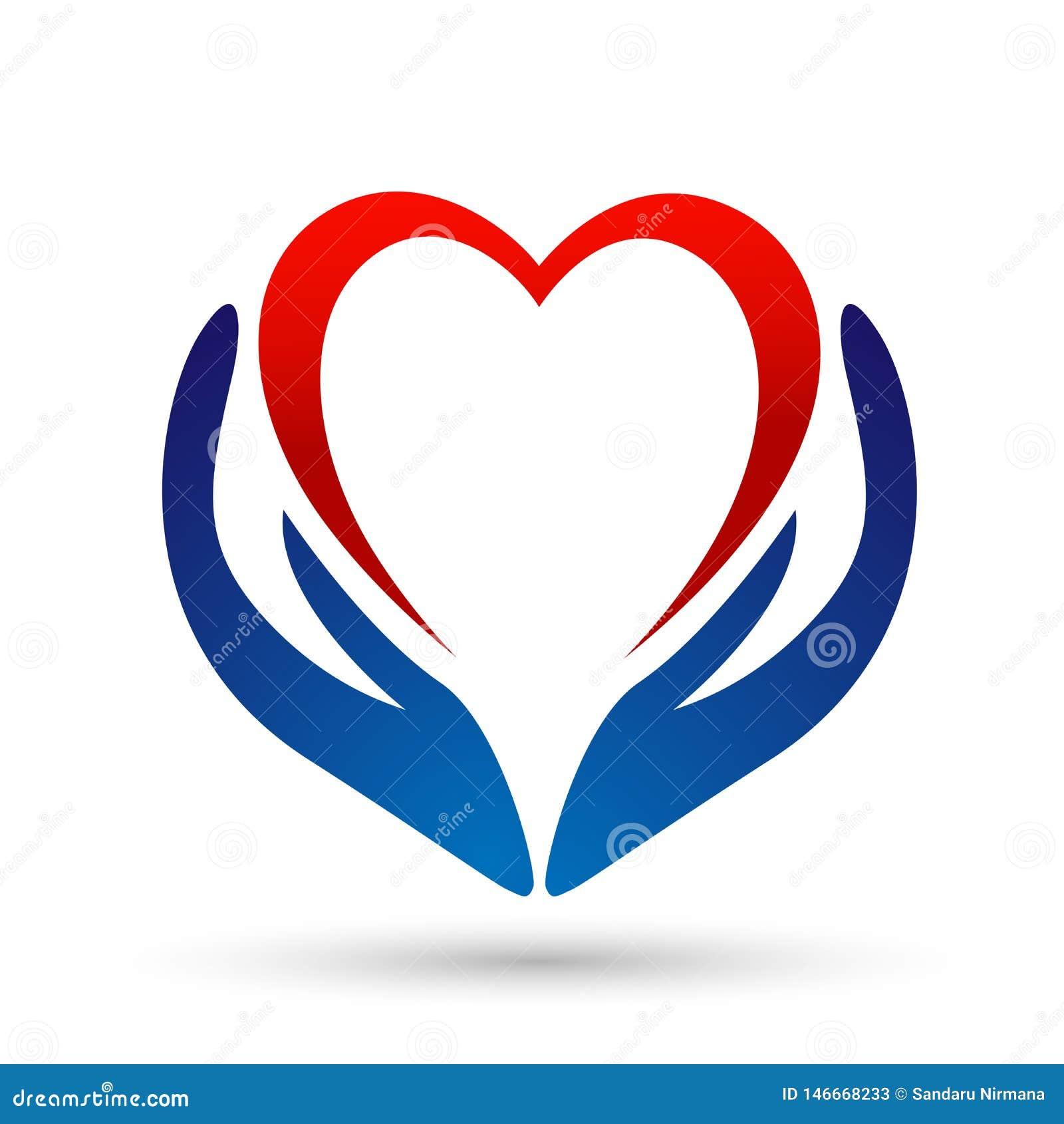 医疗在白色背景的健康心脏关心诊所人民健康生活关心商标设计象