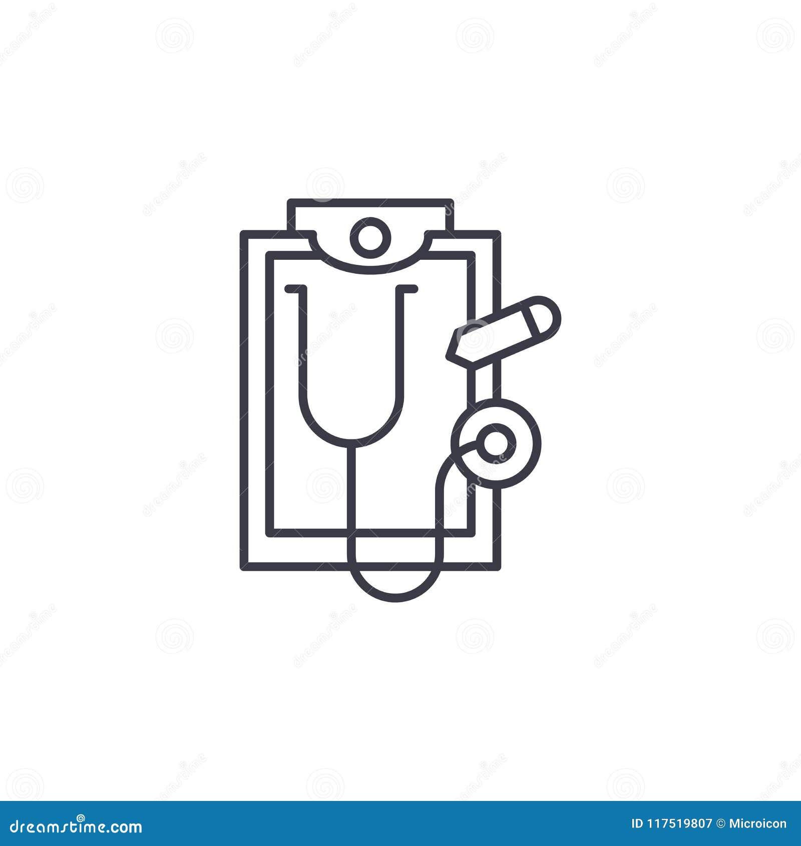 医疗报告线性象概念 医疗报告线传染媒介标志,标志,例证