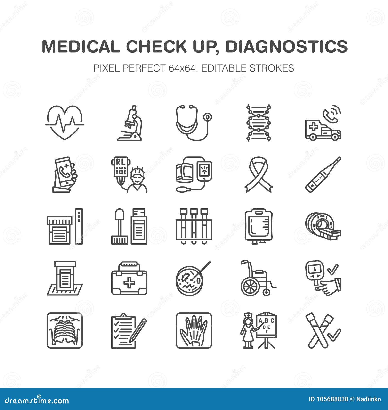 医疗检查,平的线象 健康诊断设备- mri, X线体层照相术, glucometer,听诊器,血液