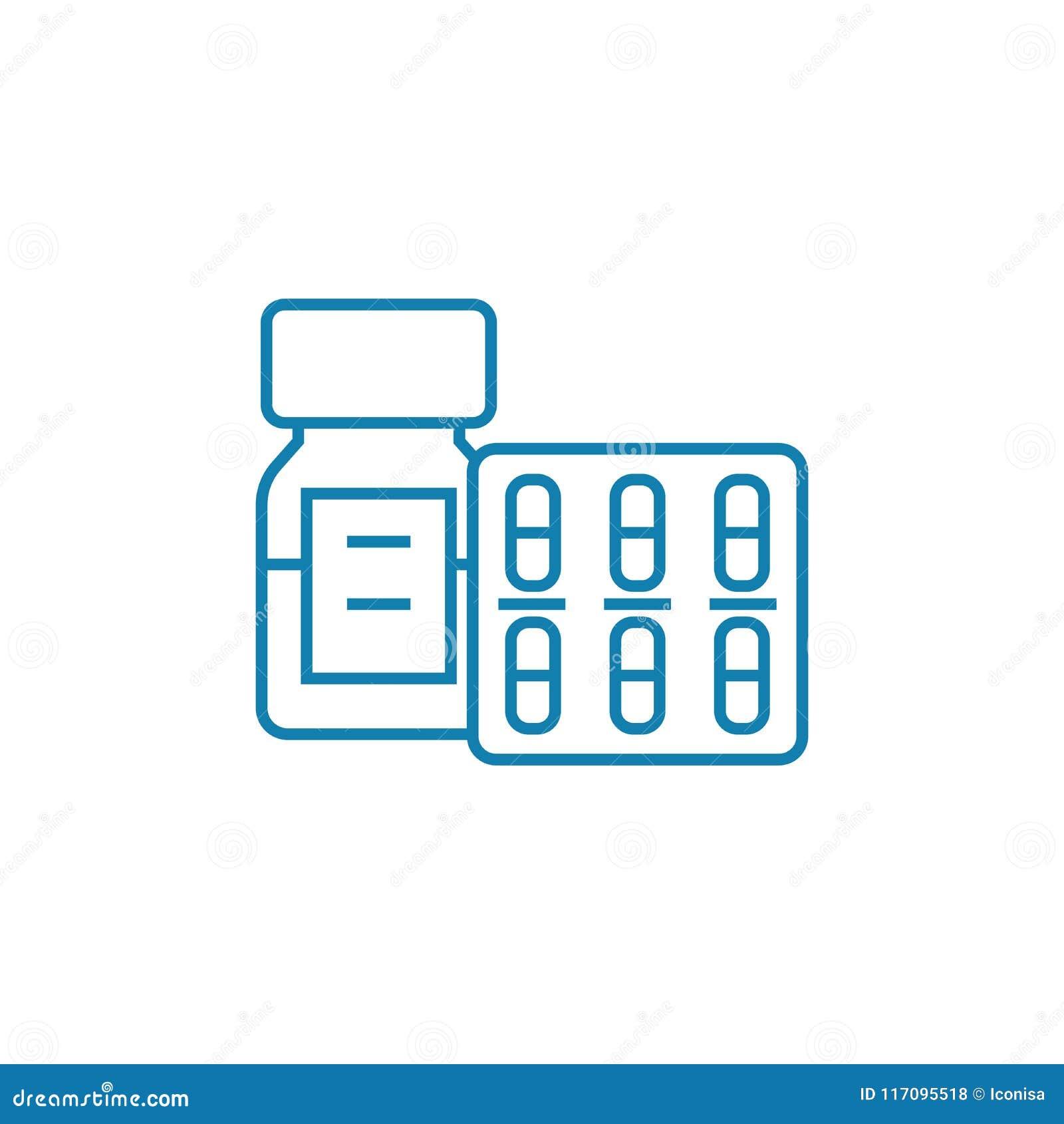 医疗物资线性象概念 医疗物资排行传染媒介标志,标志,例证