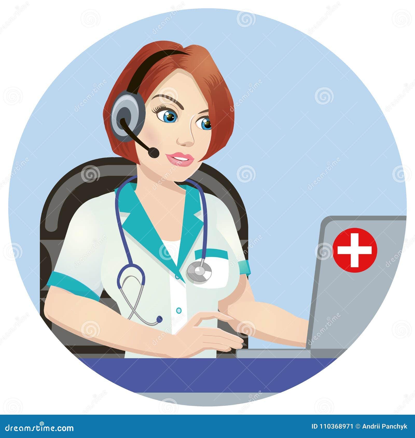 医疗电话中心操作员在工作 背景查出的白色 与医疗热线服务电话操作员的紧急概念