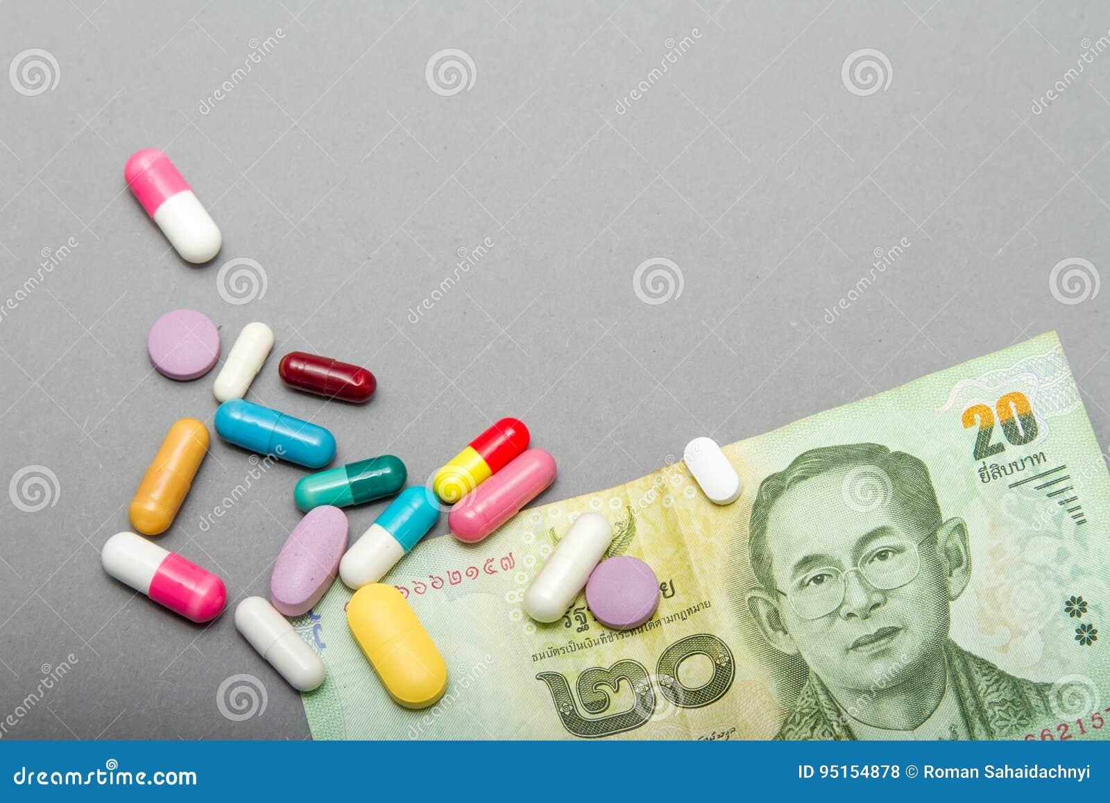 医疗药片用不同的颜色和金钱