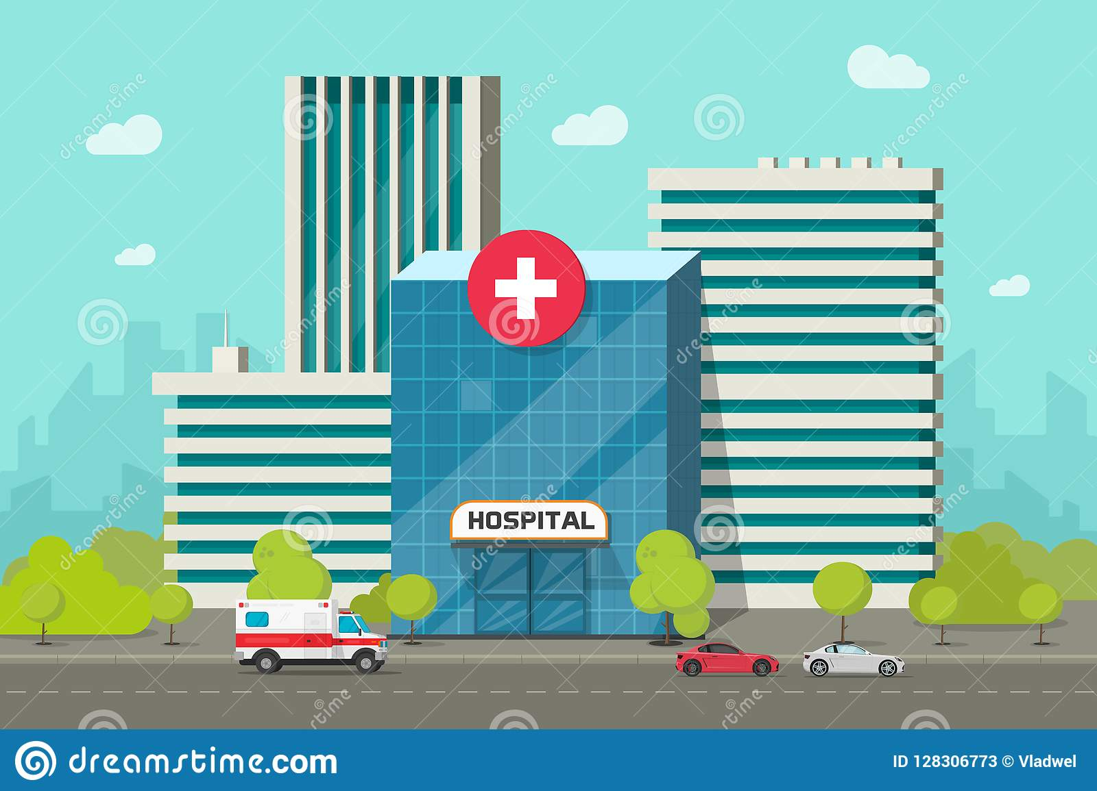 医院大厦传染媒介例证、平的动画片现代医疗中心或者诊所在城市街道clipart