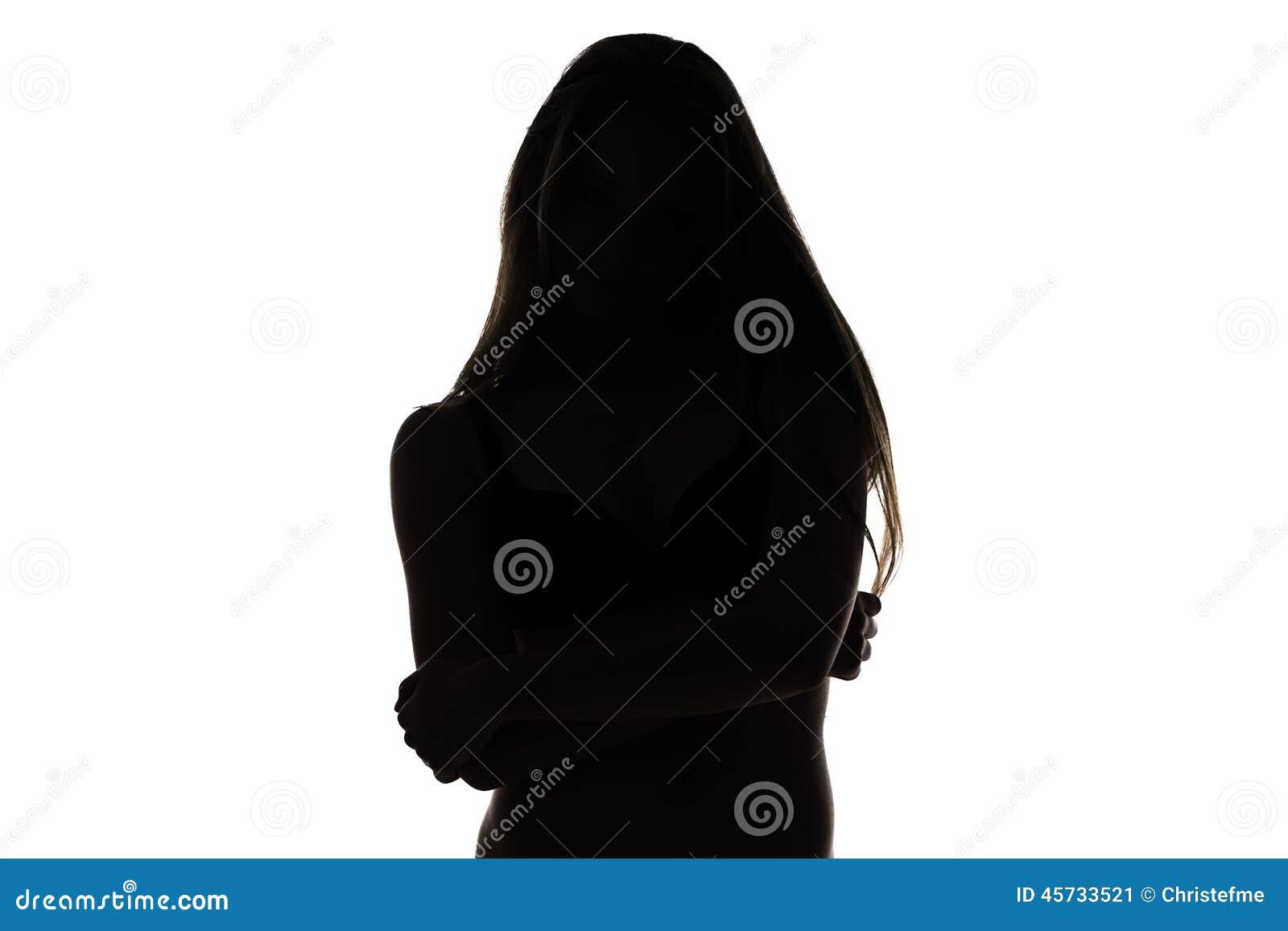 十几岁的女孩形状有横渡的胳膊的