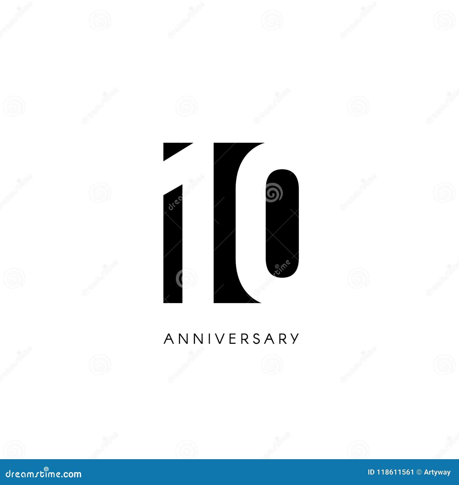 十周年, minimalistic商标 第十岁月,第10周年纪念,贺卡 生日邀请 10年标志 投反对票