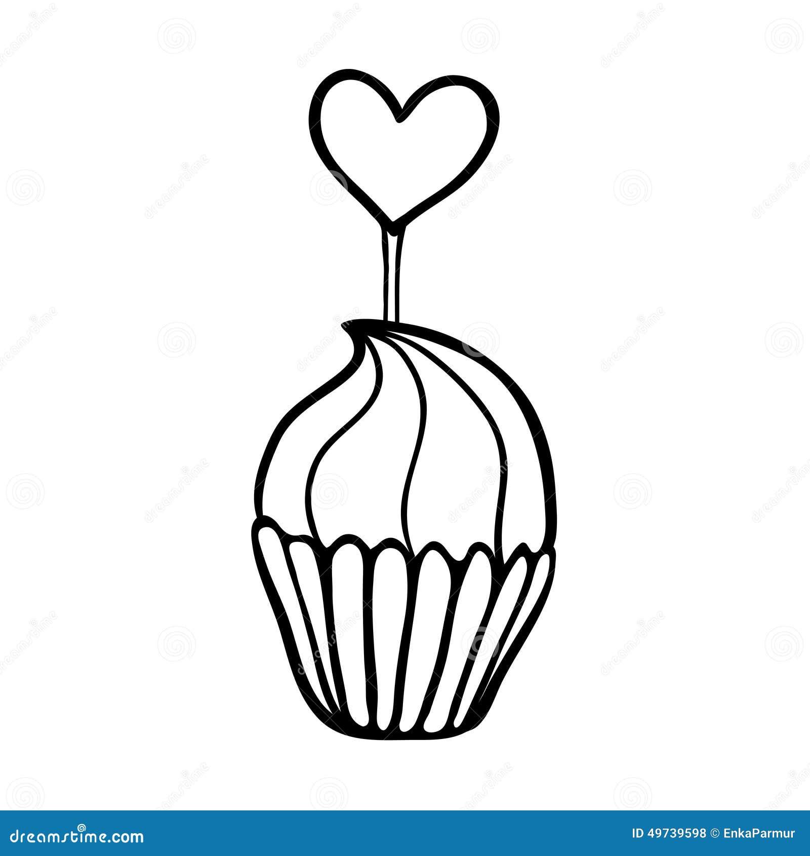 用心脏轻便短大衣装饰的华伦泰杯形蛋糕 手拉的草图 在白色背景的黑