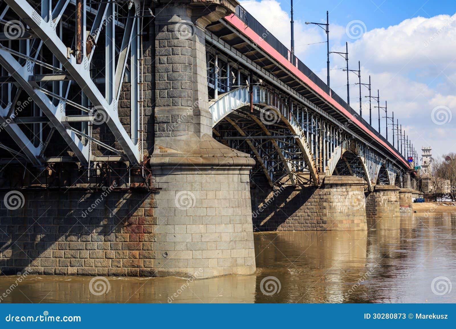 在维斯瓦河,华沙的Poniatowski桥梁
